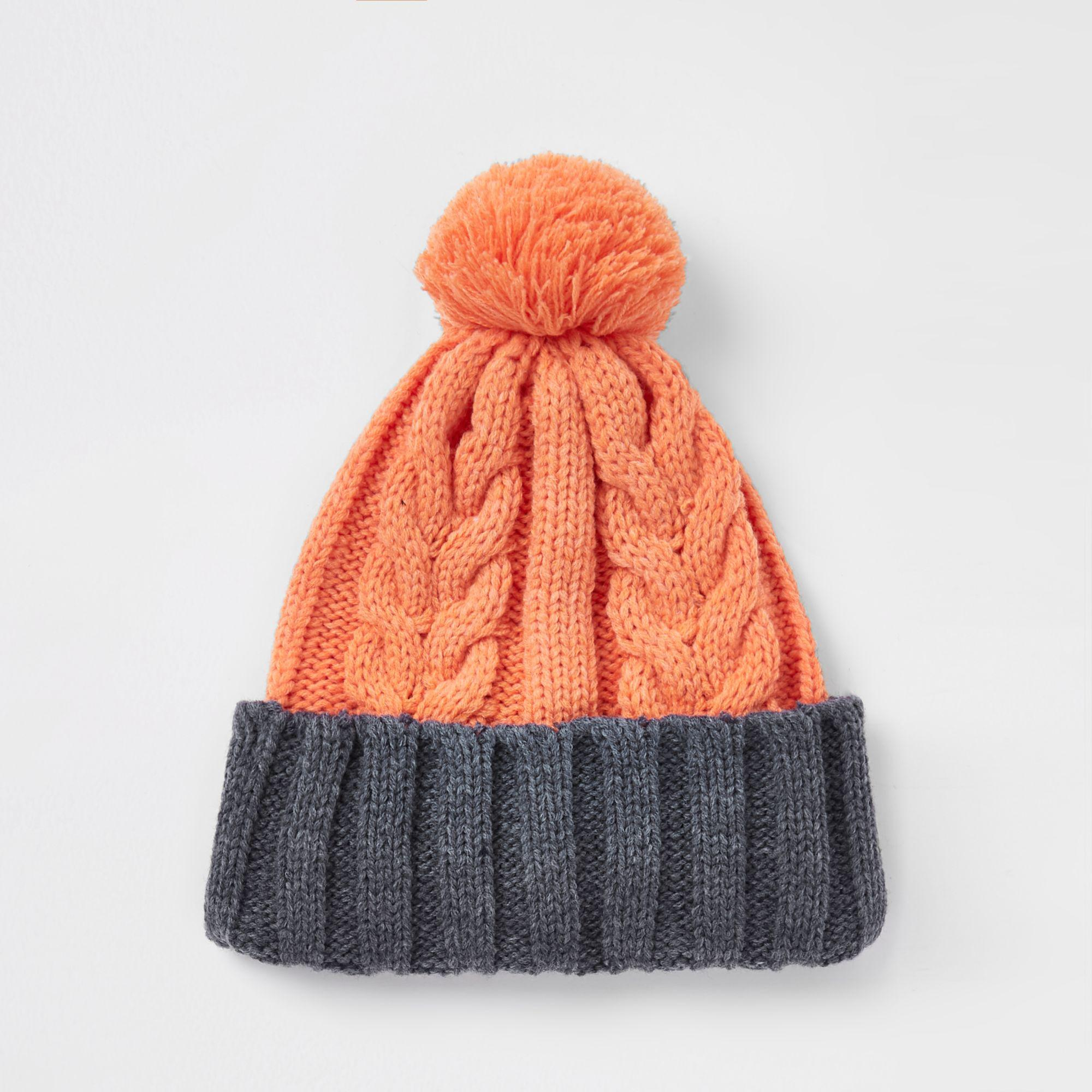 c946c907918 River Island Cable Knit Bobble Beanie Hat in Orange for Men - Lyst