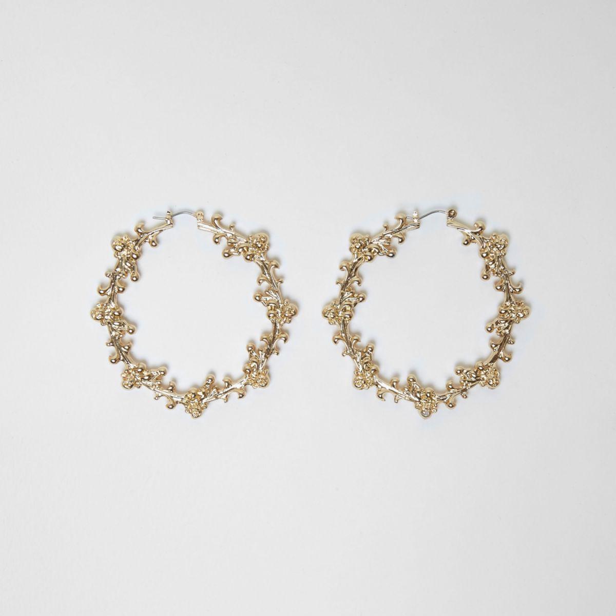 River island Gold Tone Ornate Embellished Hoop Earrings in ...