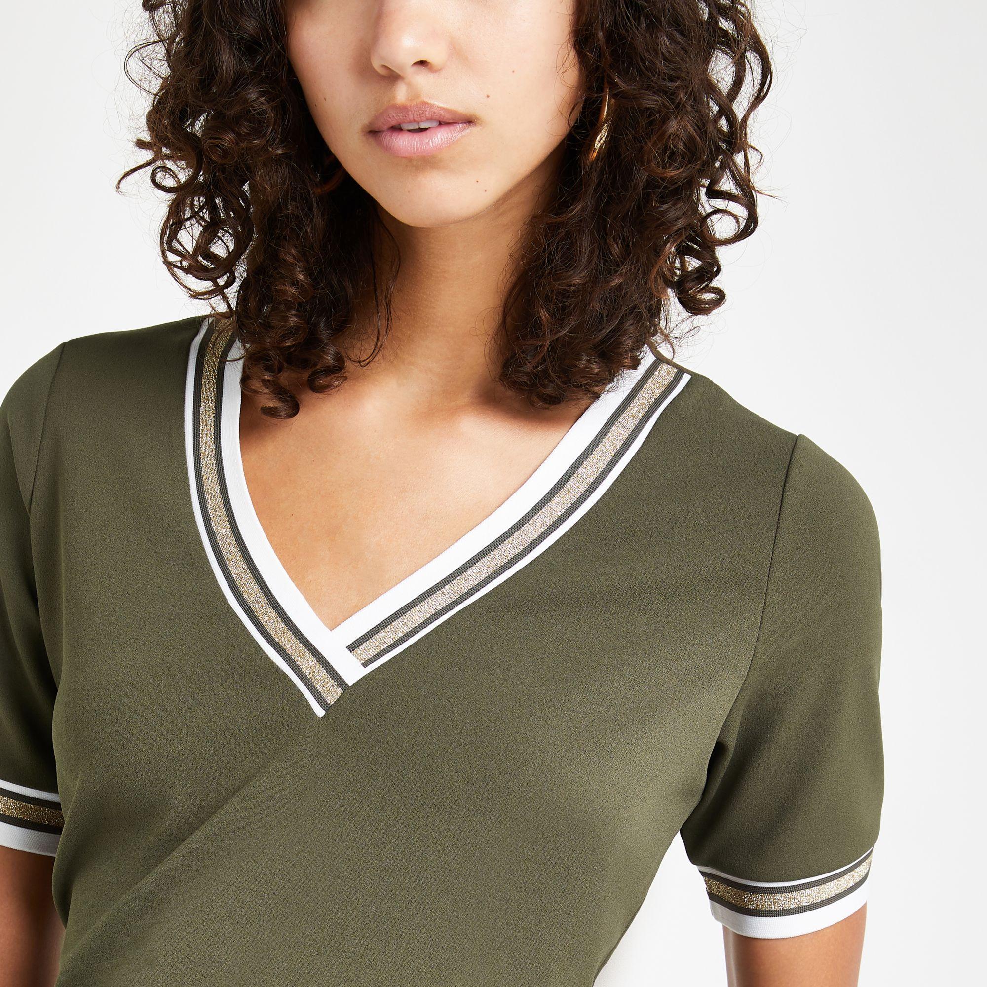 7365de63 Lyst - River Island Khaki Tipped V Neck T-shirt in Green