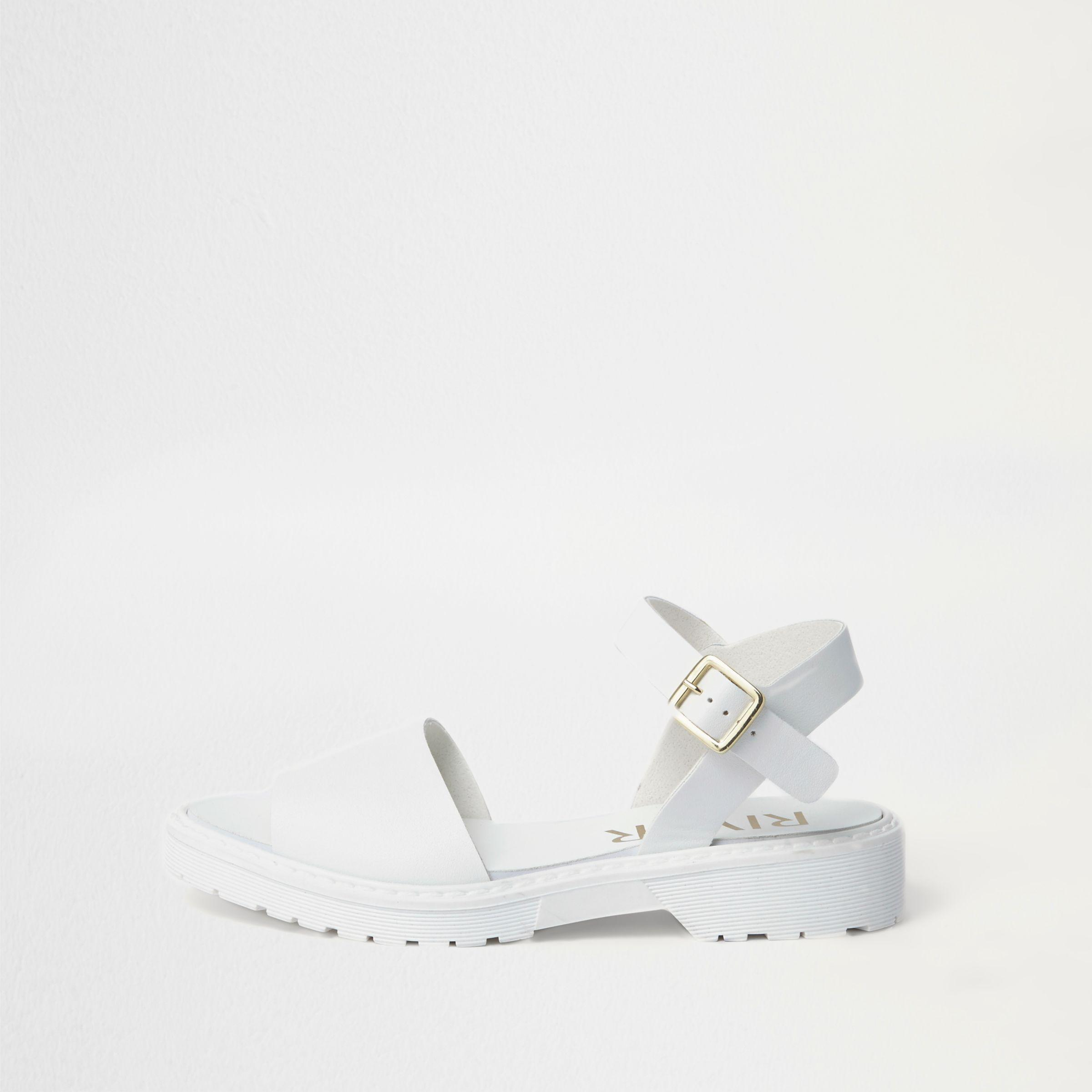 fc2af40dcc5 Lyst - River Island Chunky Sole Sandals in White