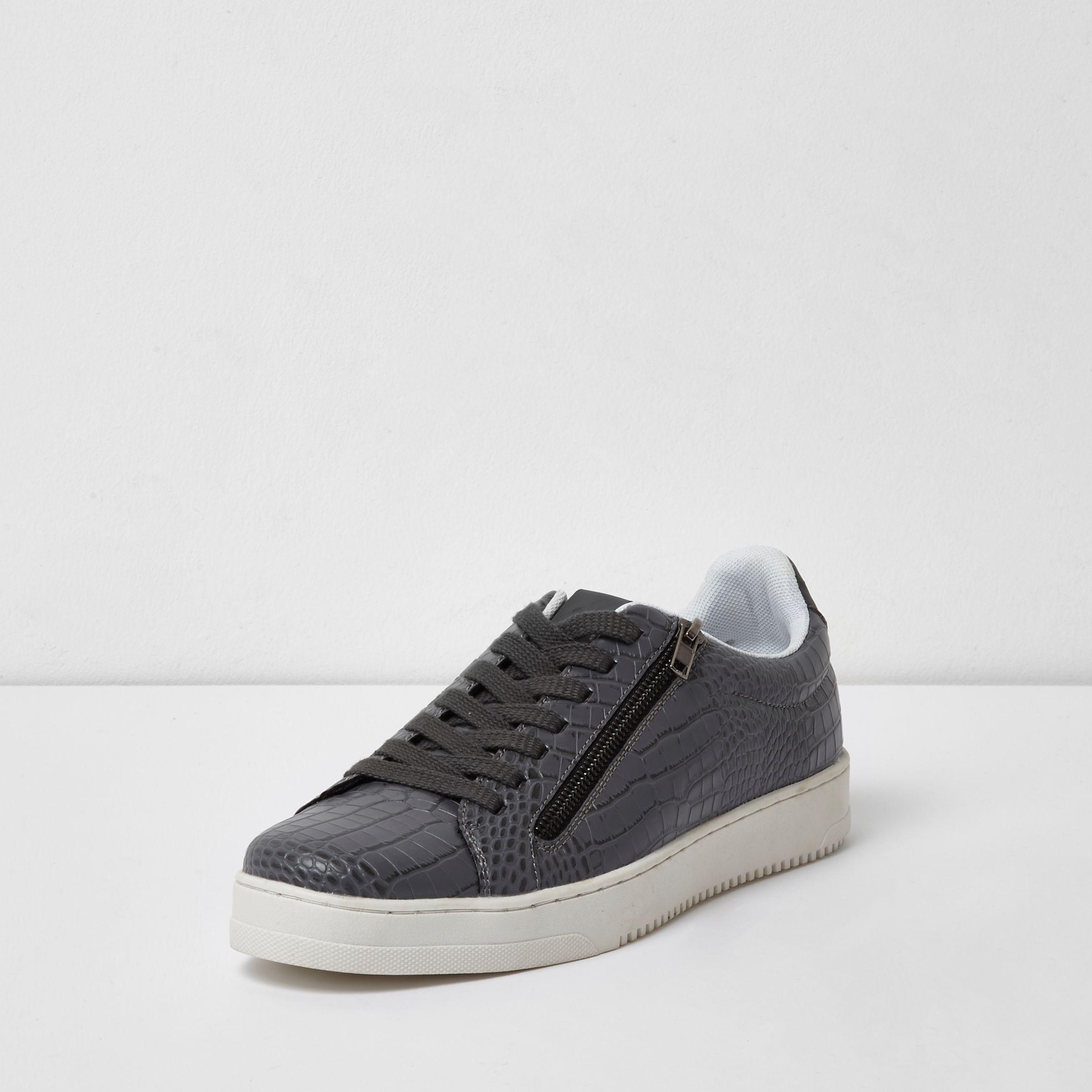 River Island Mens Grey croc embossed lace-up plimsolls z4kwmOw