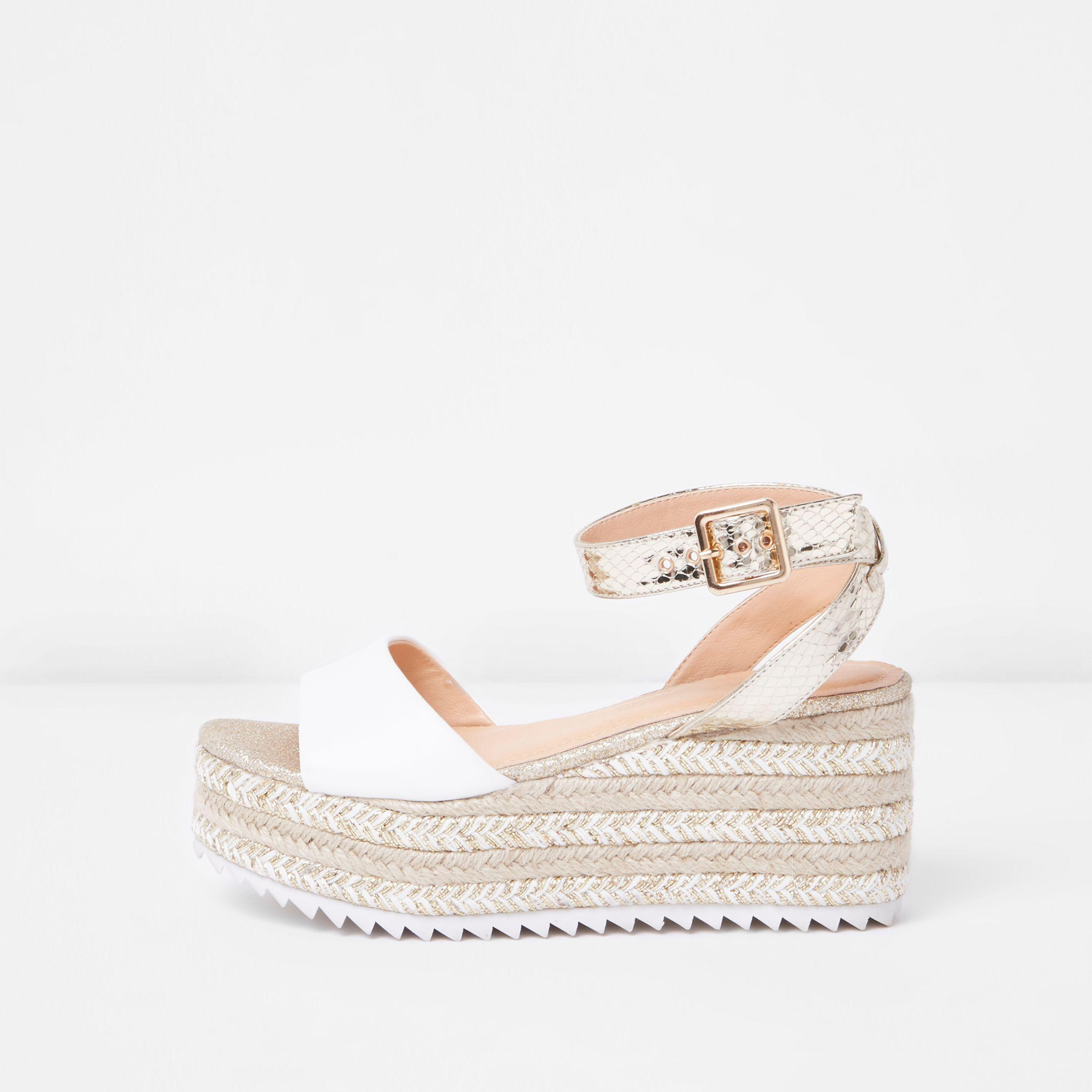 e0541ef8f4 River Island Gold Two Part Espadrille Wedge Sandals in Metallic - Lyst
