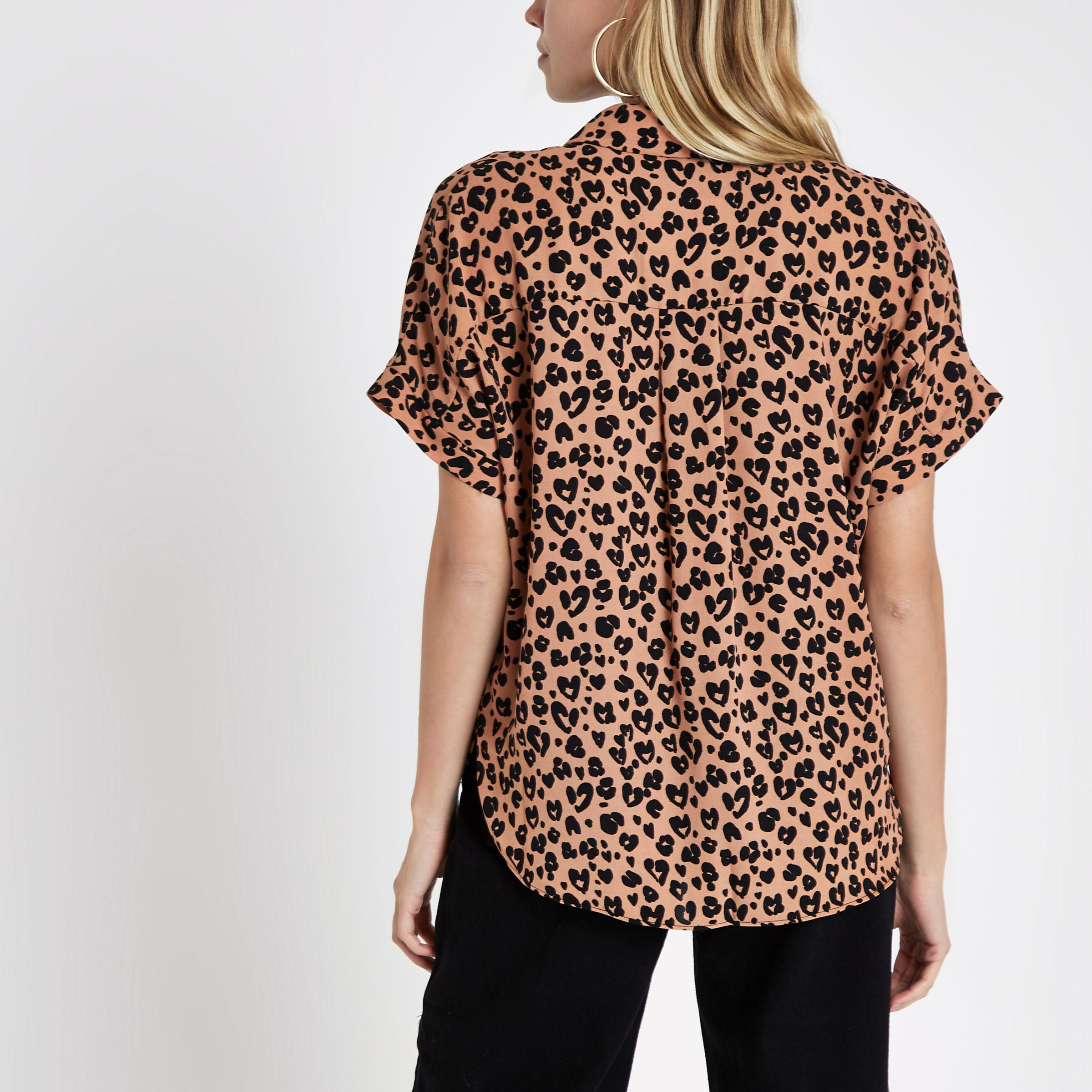 d2bff566a3137 Lyst - River Island Leopard Print Tie Front Shirt in Brown