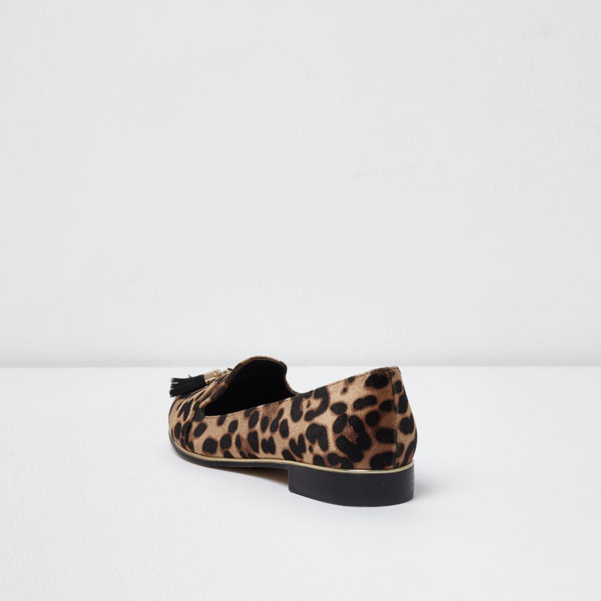 River Island Brown Leopard Print Tassel Loafers