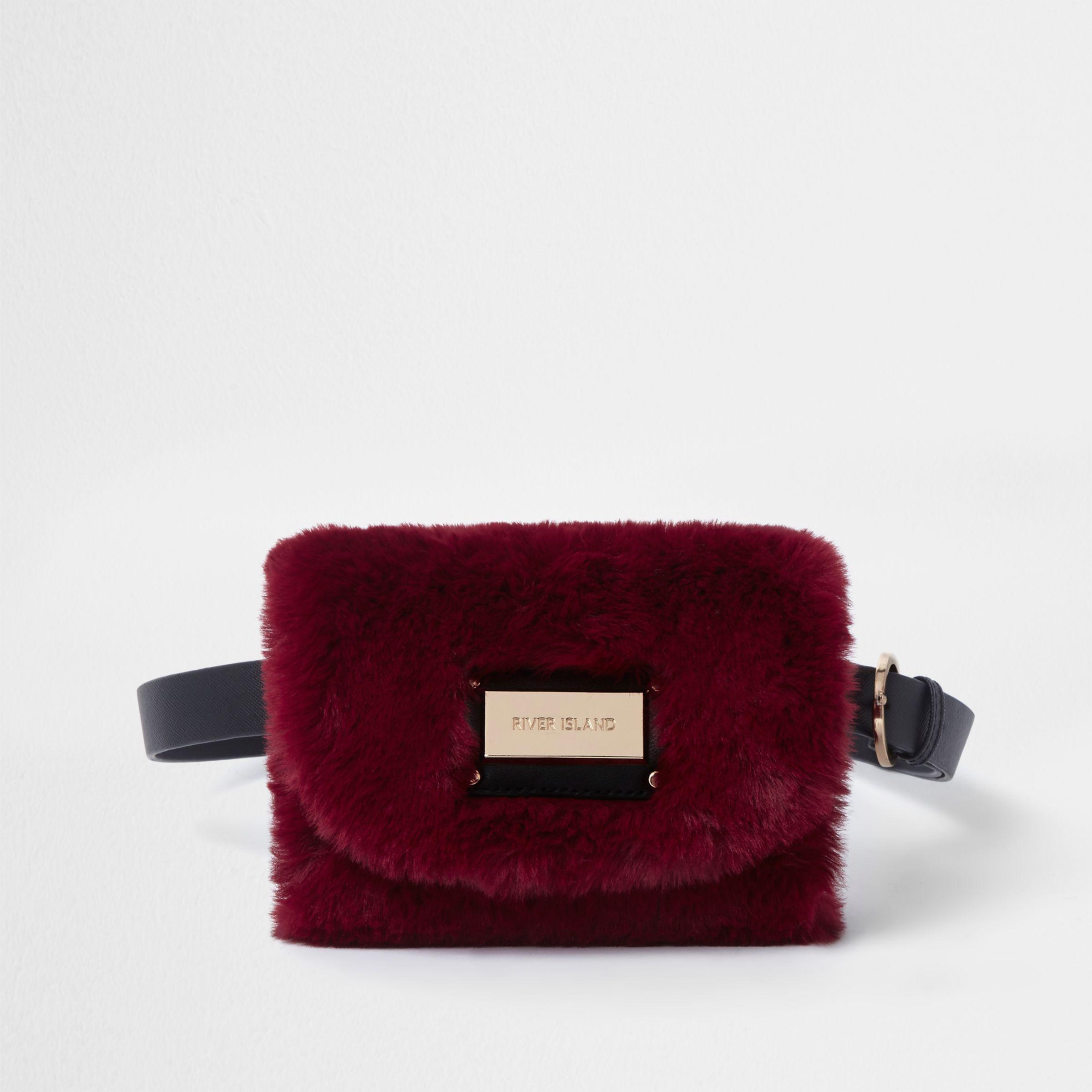 River Island Dark Red Faux Fur Buckle Belt Bum Bag in Red - Lyst 869cd1ae634c0
