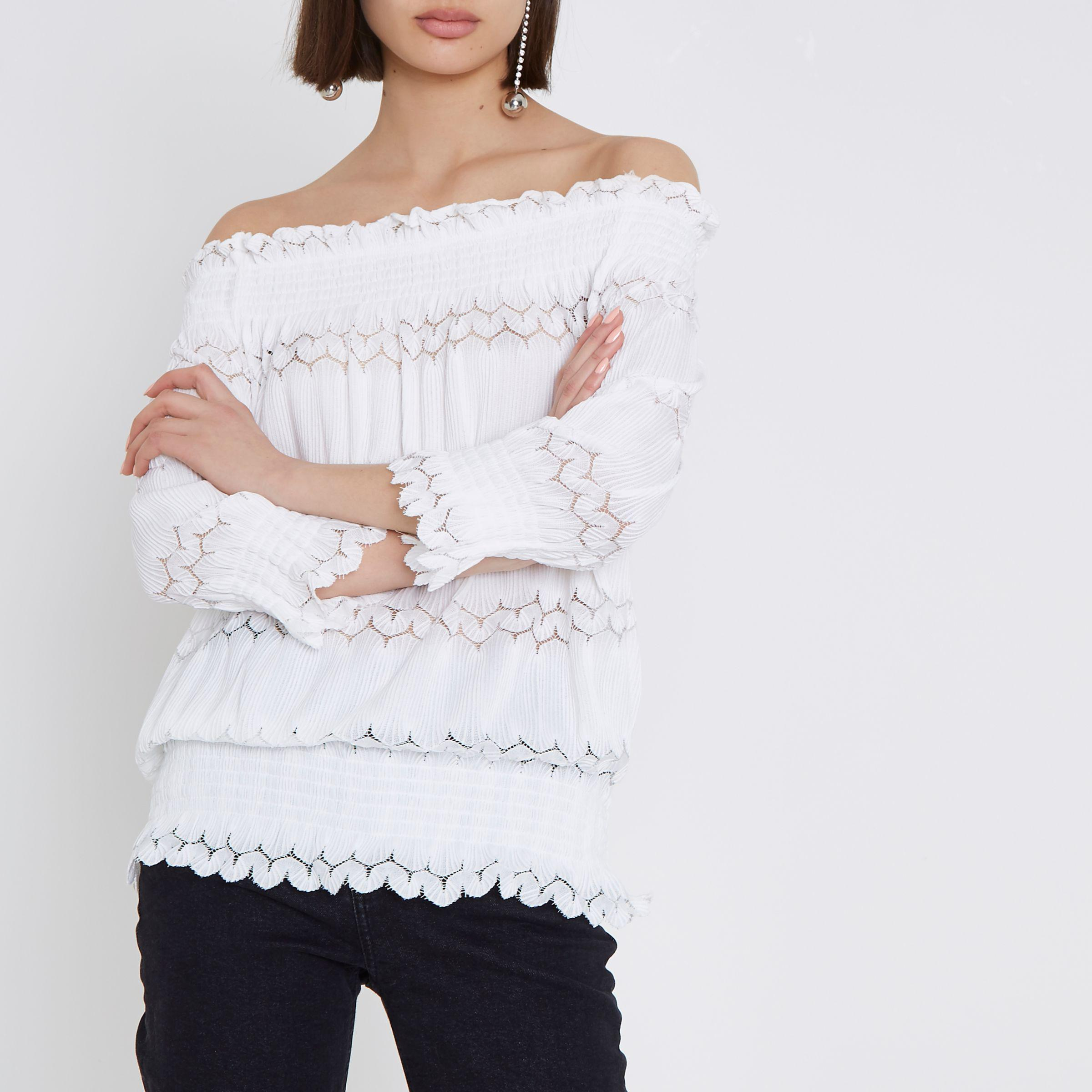 82aecee217829 Lyst - River Island Lace Shirred Bardot Top in Natural