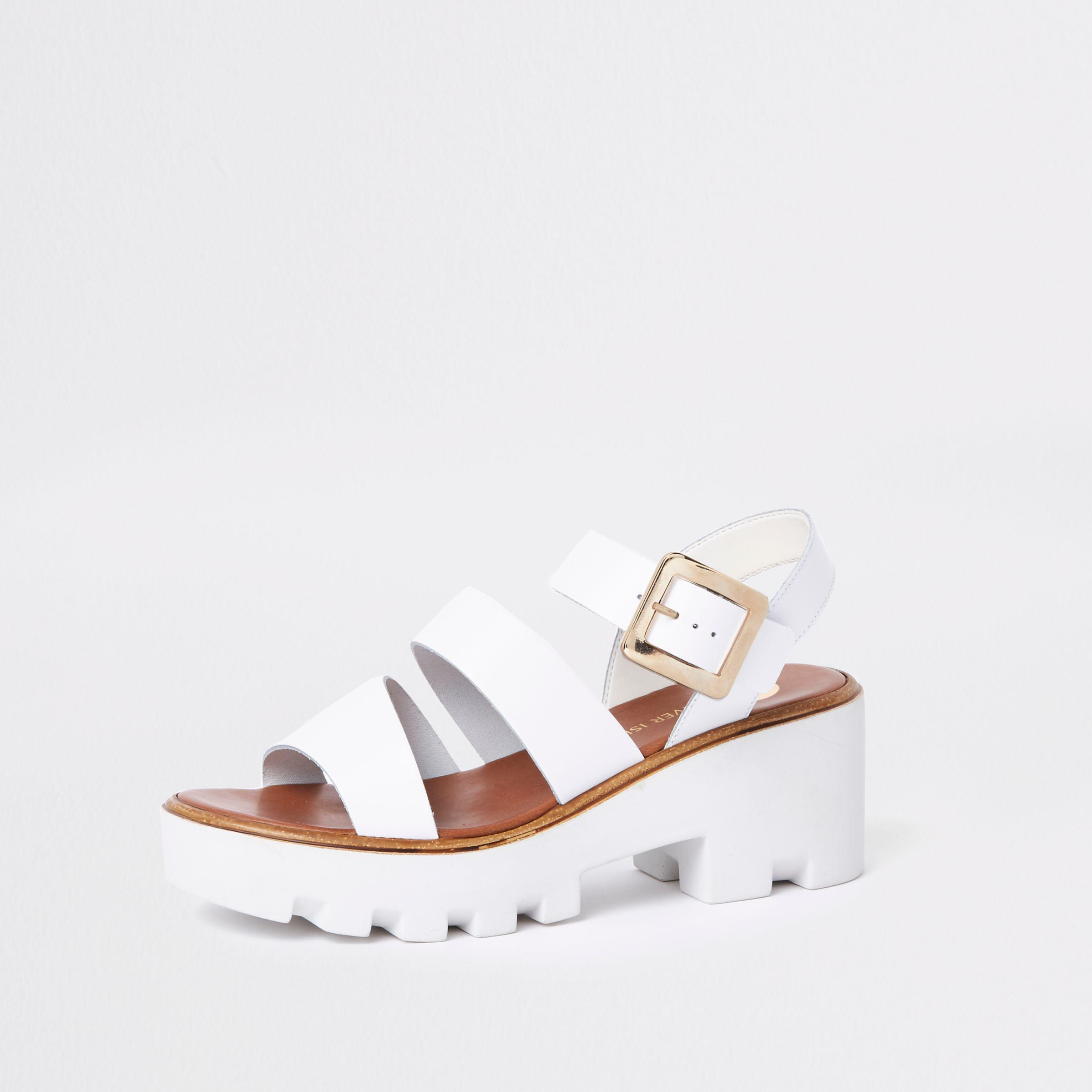 4be5c8b346c Lyst - River Island White Chunky Sandals in White
