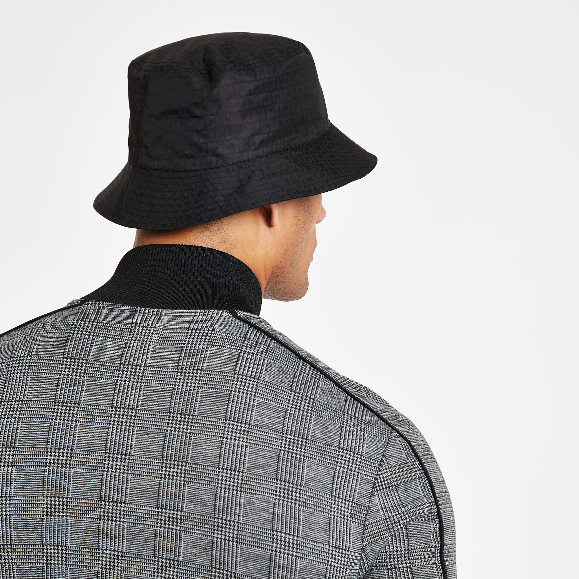 93043300c Lyst - River Island Ri Monogram Bucket Hat in Black for Men