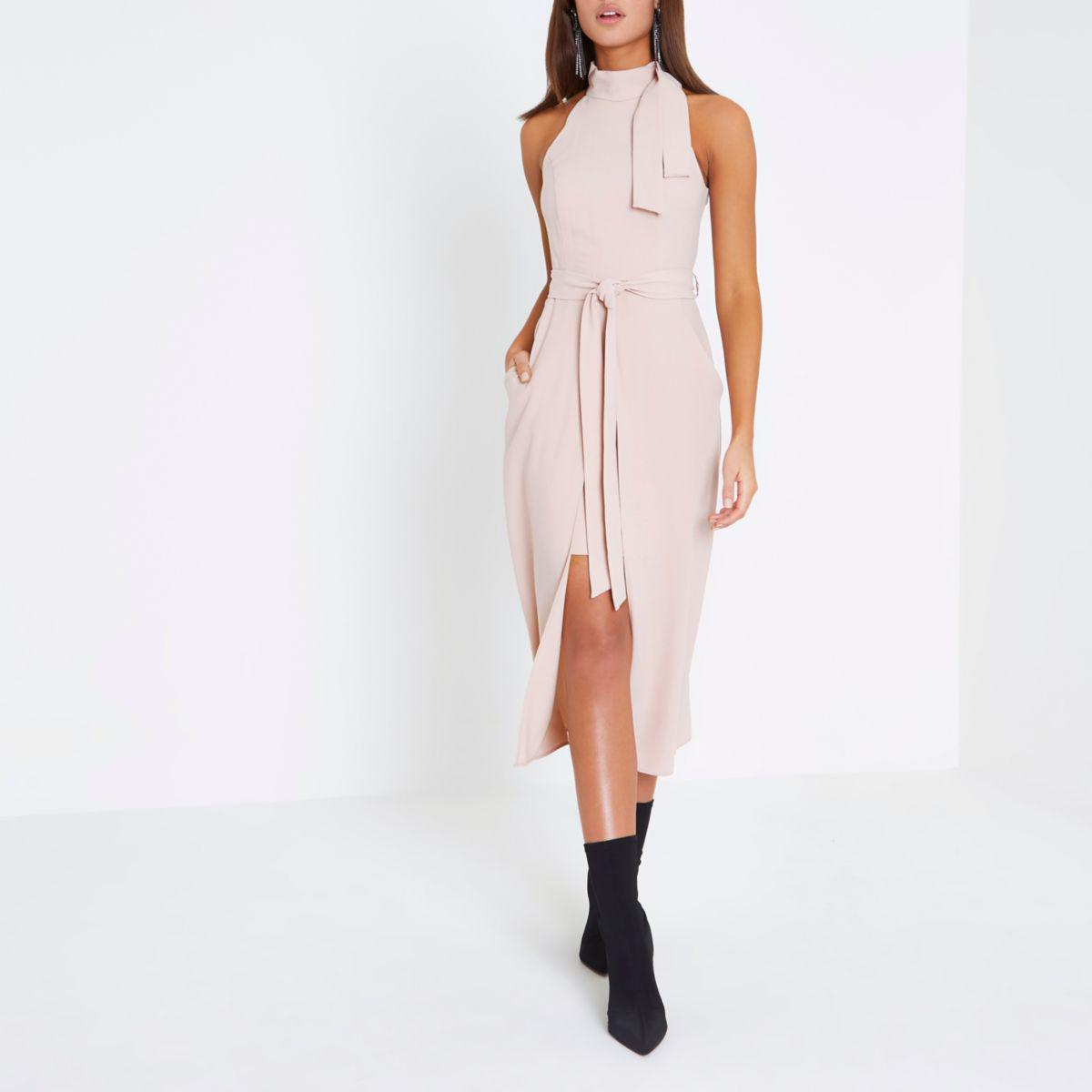 fff24c5fcf7 Lyst - River Island Light Pink High Neck Tie Waist Midi Dress Light ...