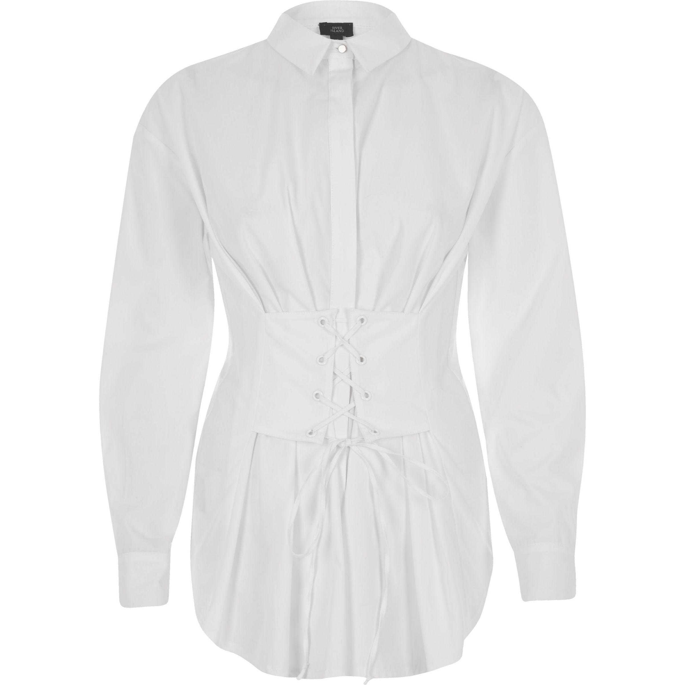5d32af586dfe9 Lyst - River Island White Corset Long Sleeve Oversized Shirt in White