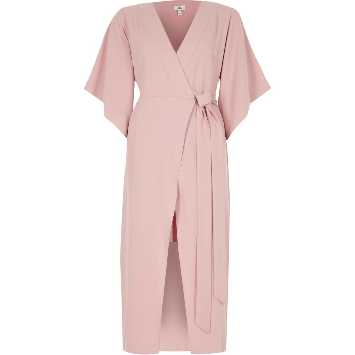 48a94e26c River Island Light Pink Wrap Front Kimono Midi Dress Light Pink Wrap ...