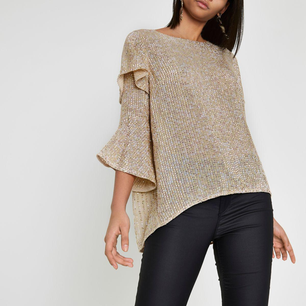 Lyst River Island Gold Sequin Embellished Frill Sleeve
