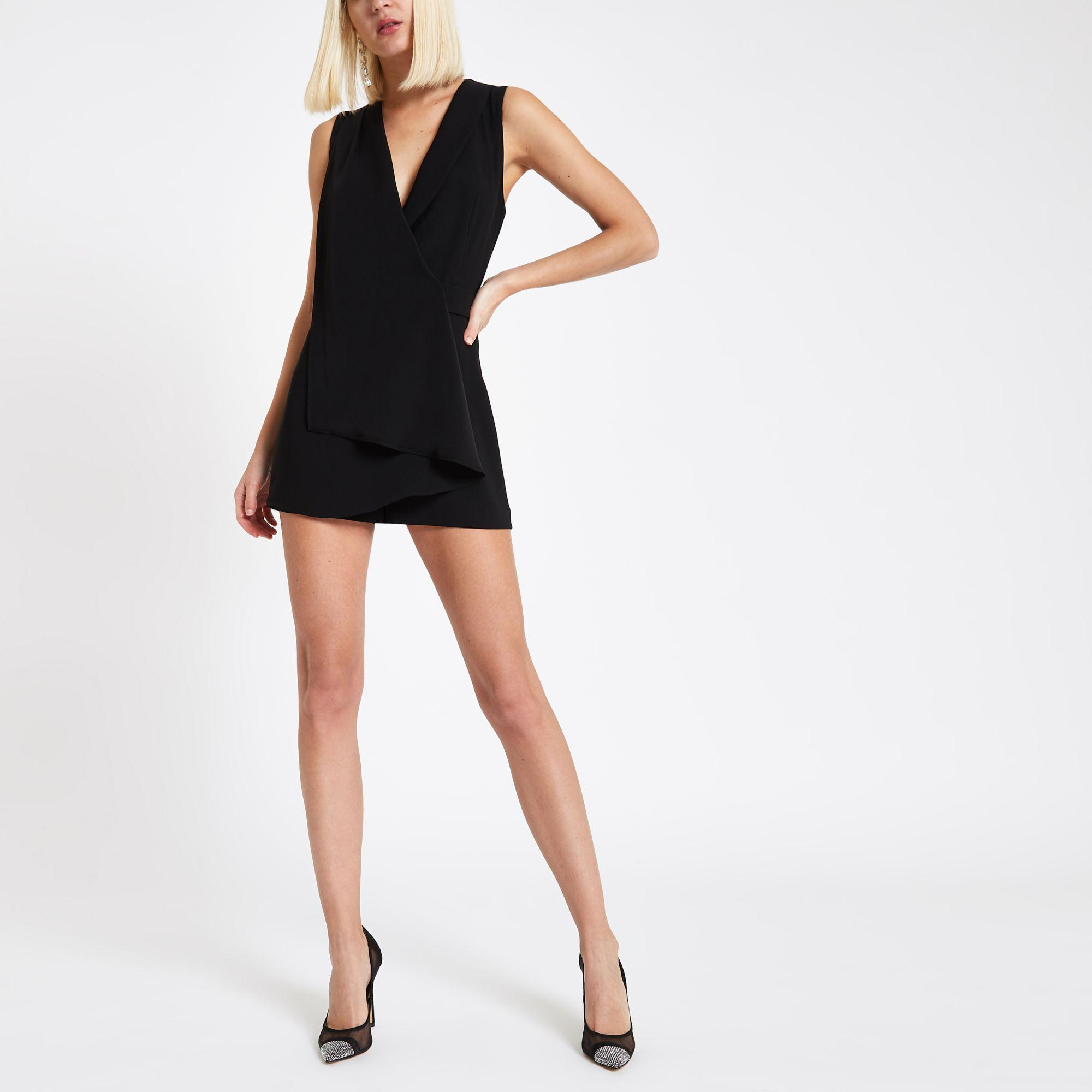 0aade93be05 ... Black Wrap Front Sleeveless Playsuit - Lyst. View fullscreen