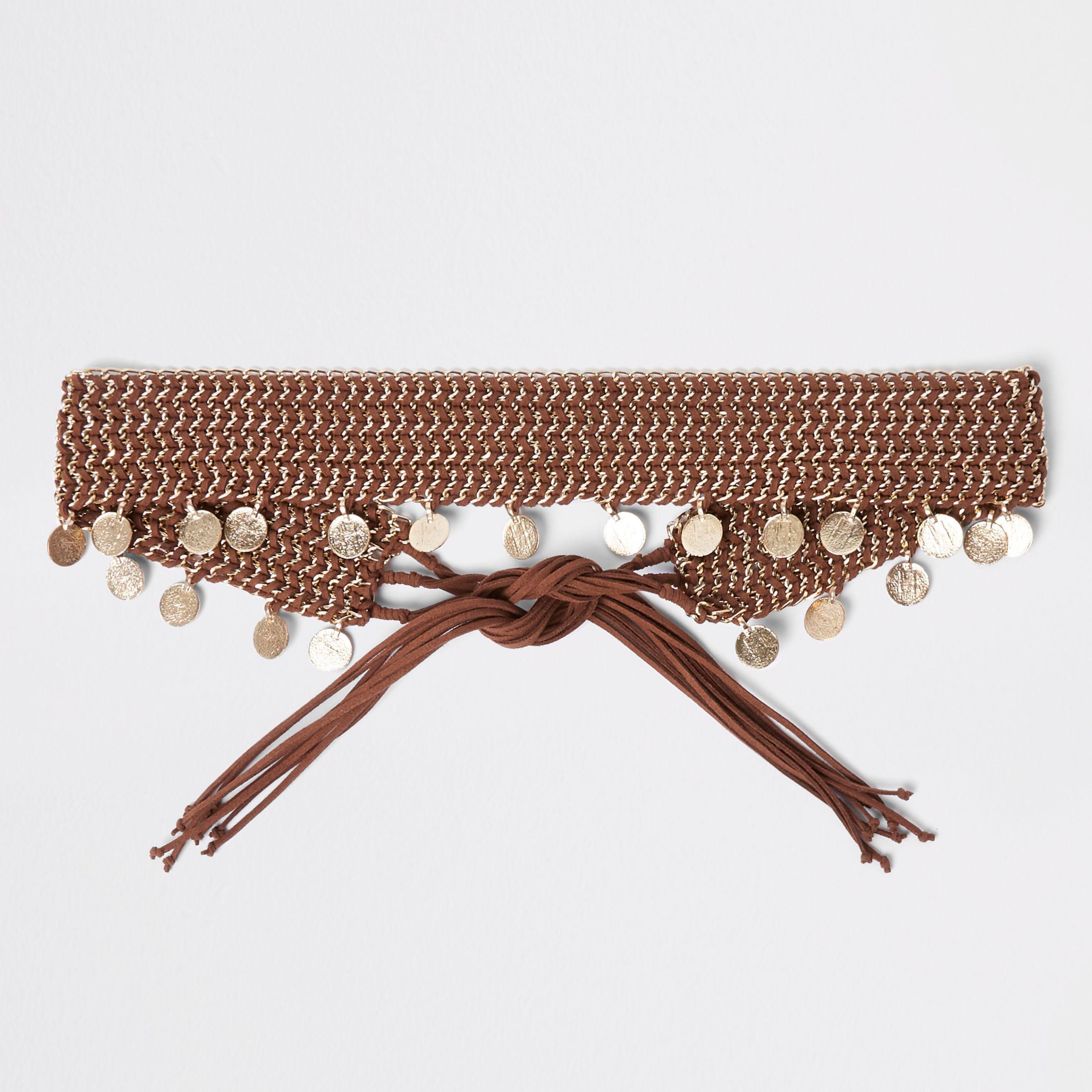 Womens Brown woven coin chain tie up belt River Island 0gUNE9