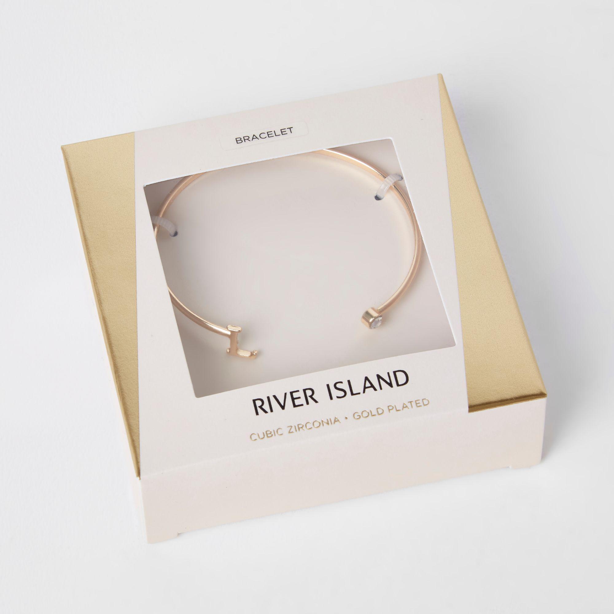 2bc95b5ba59 River Island - Metallic Gold Plated 'l' Initial Cuff Bracelet - Lyst. View  fullscreen
