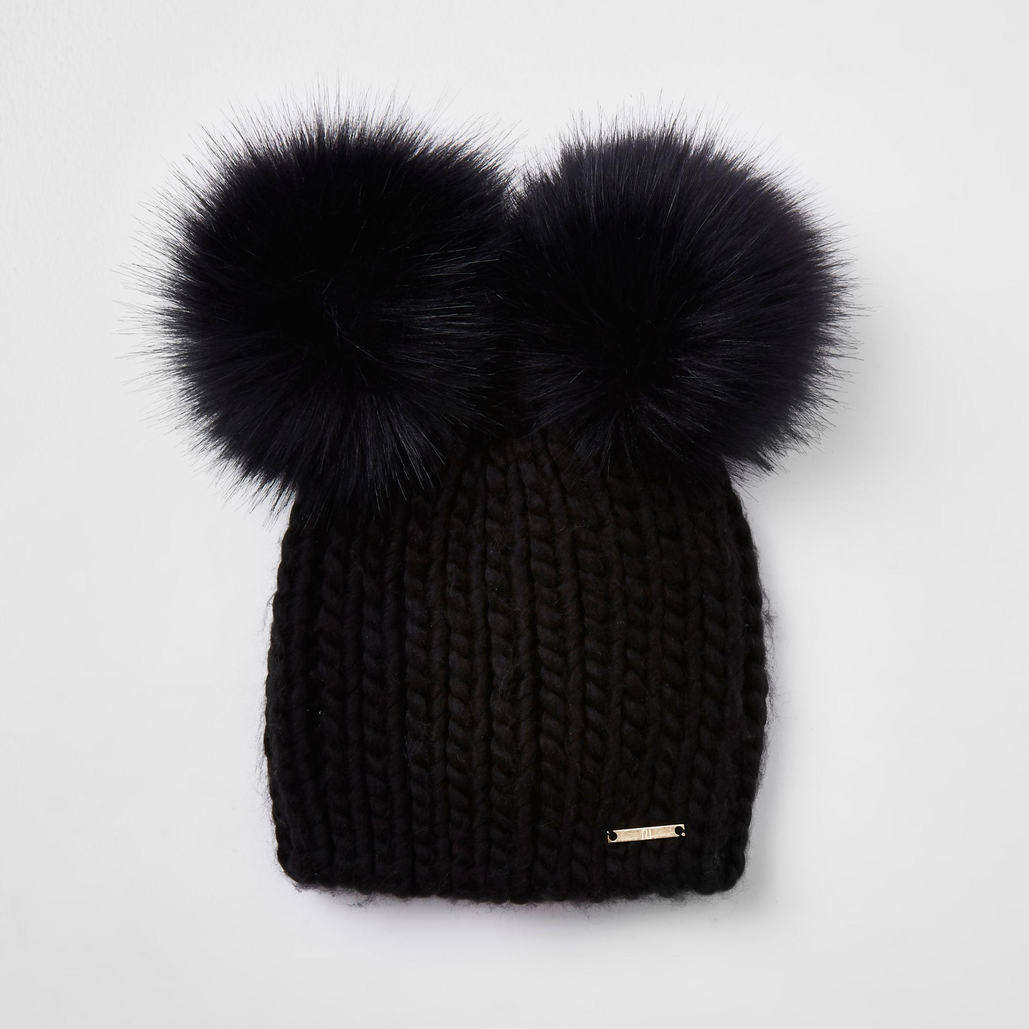 3a647d35cf9 River Island Faux Fur Double Pom Pom Beanie in Black - Lyst