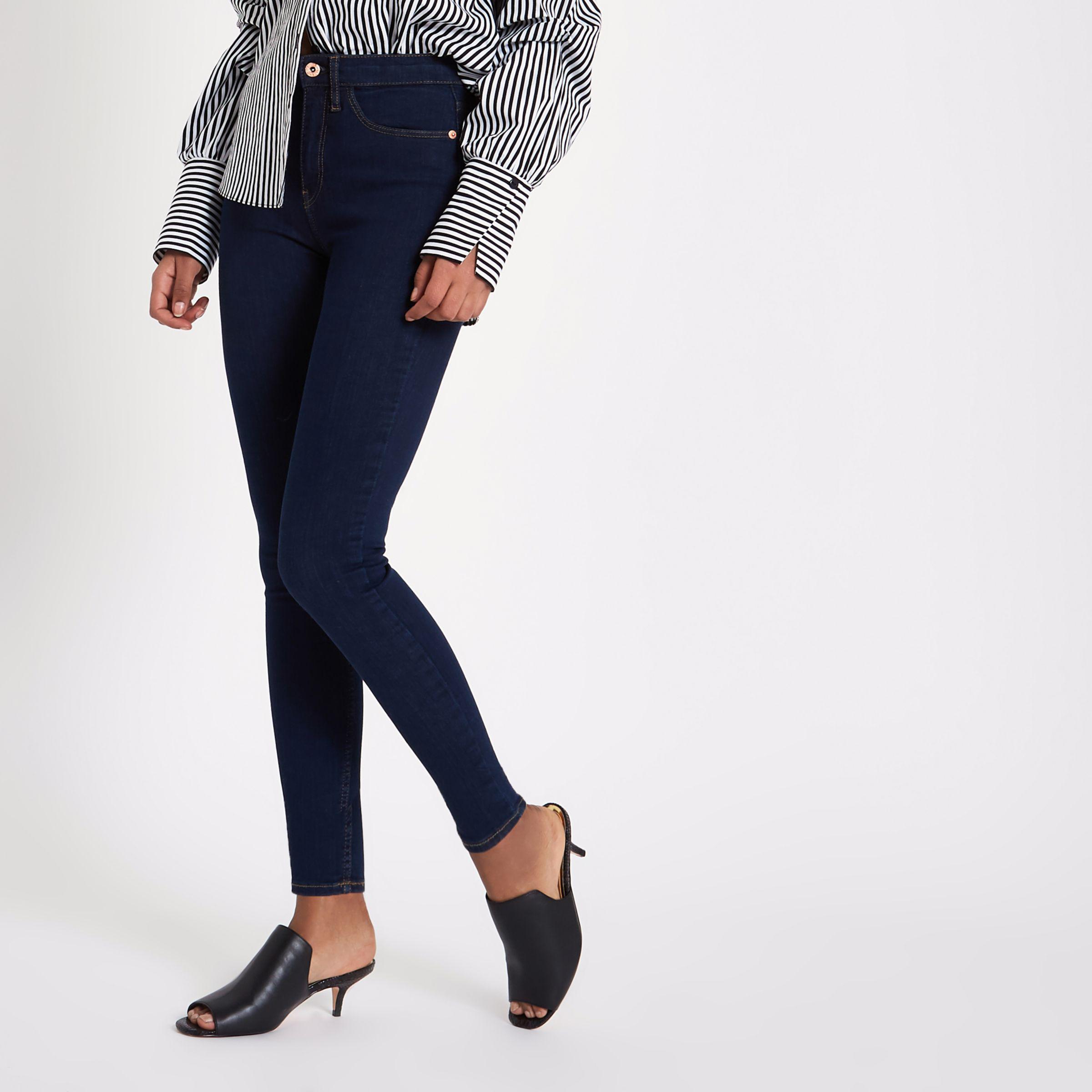 b8046a5bffb0 Lyst - River Island Dark High Waisted Harper Skinny Jeans in Blue