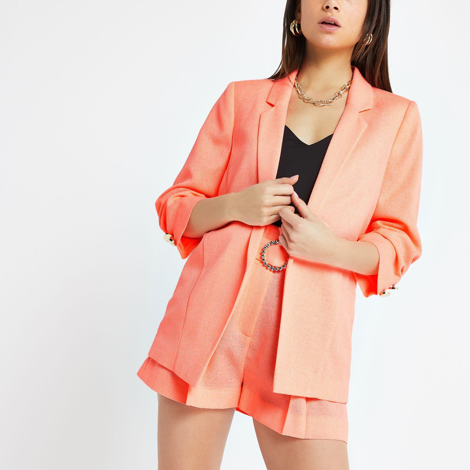 c36959b5bf6d8 River Island Petite Ruched Sleeve Blazer in Orange - Lyst