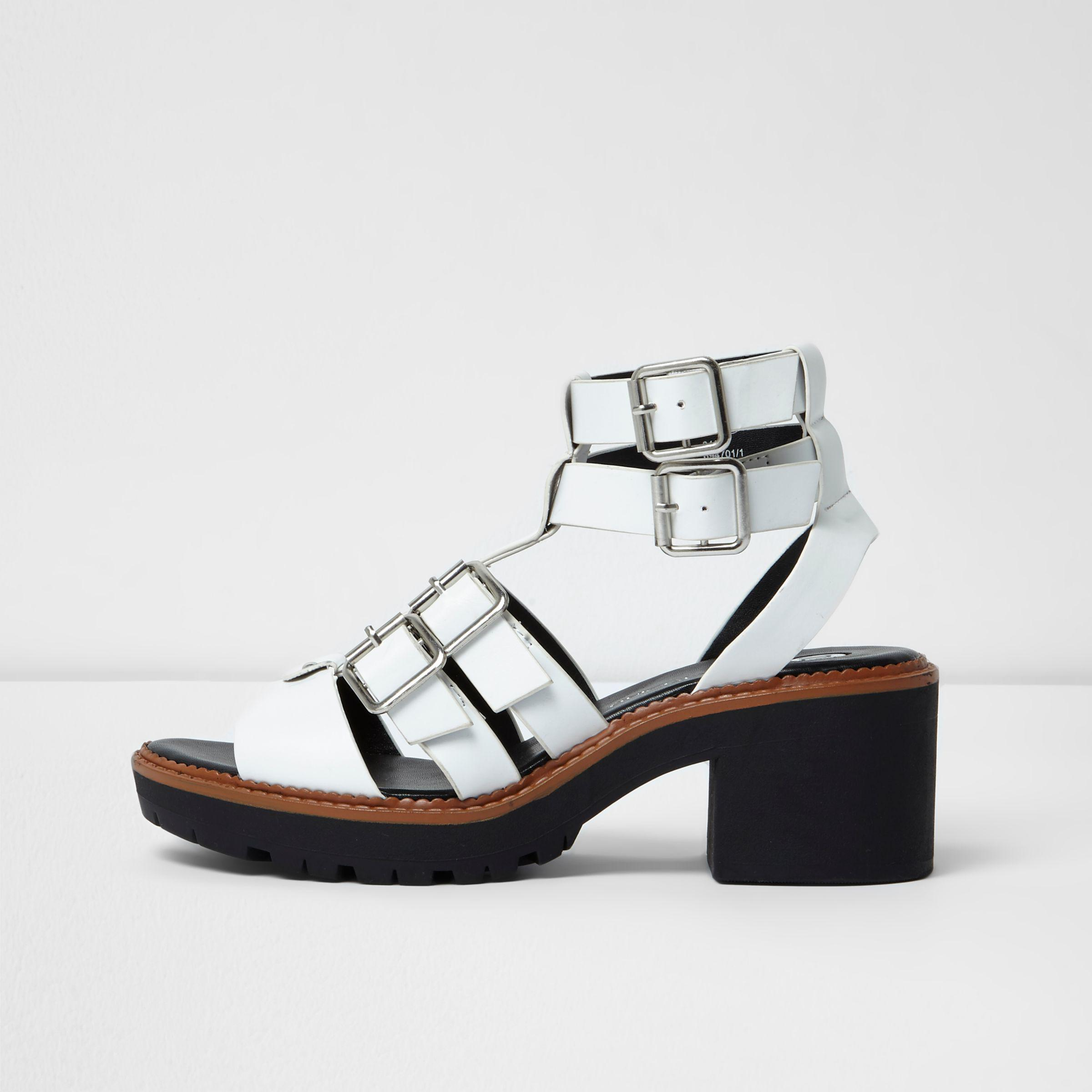 c459638e4b2 River Island White Multi Buckle Strap Gladiator Sandals in White - Lyst