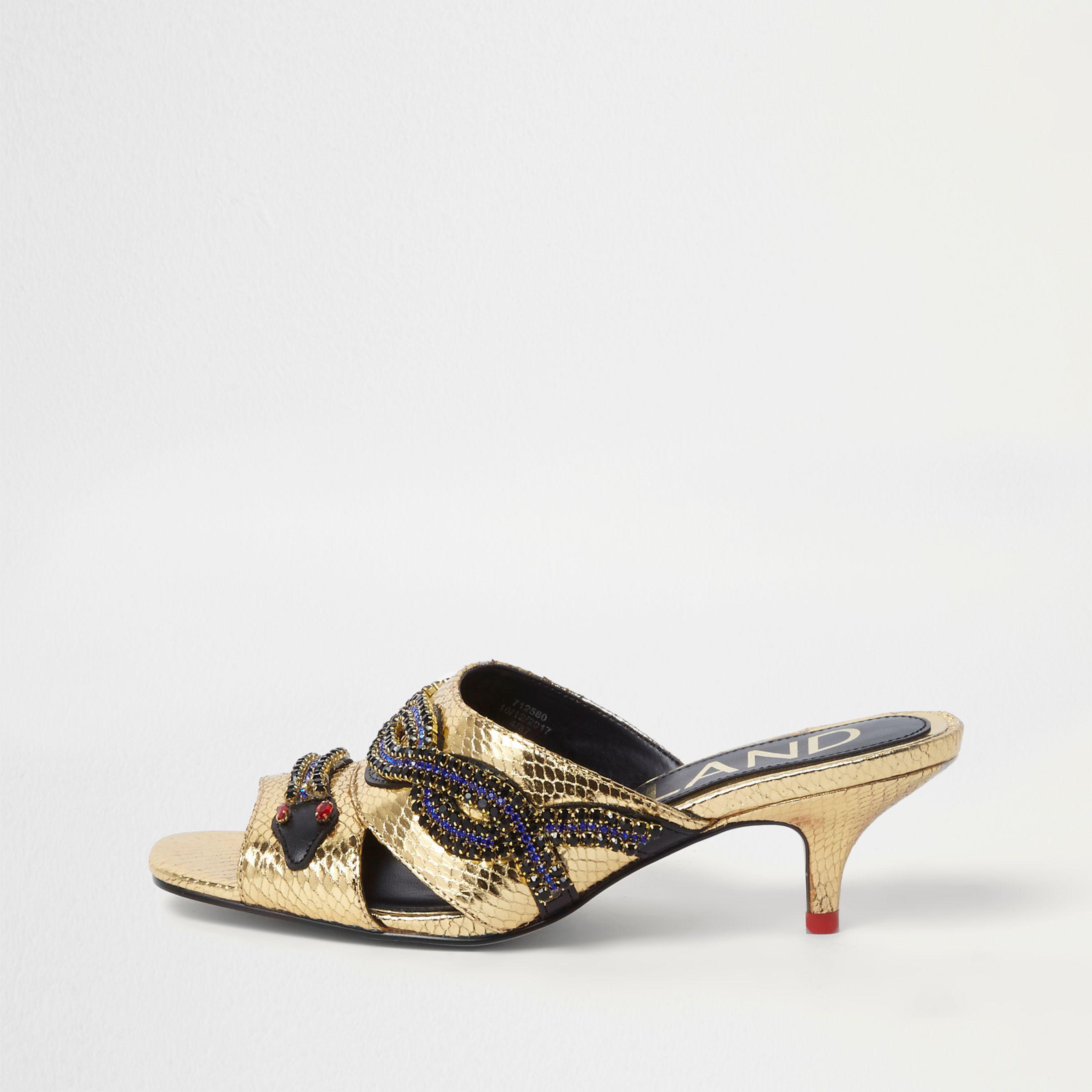 454aab0f2fe4 River Island Gold Snake Embellished Kitten Heel Mules in Metallic - Lyst