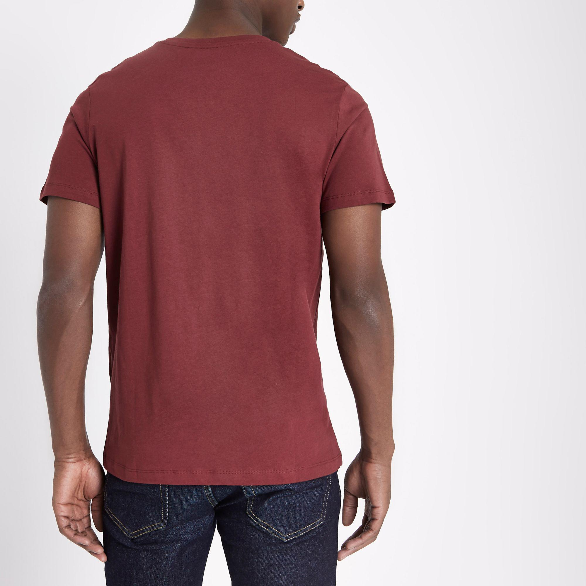 be288c6eb09d Lyst - River Island Jack & Jones Dark Red Short Sleeve T-shirt in ...