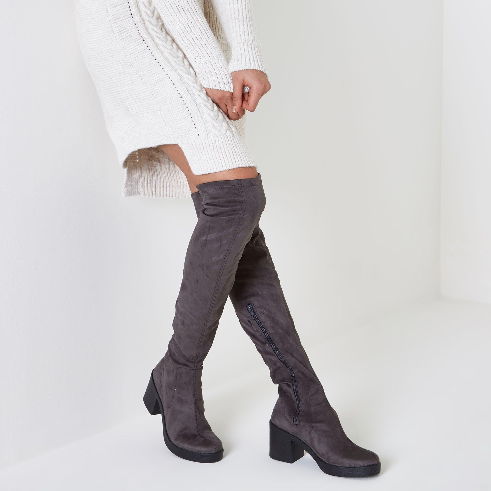 2625ed5a330 Lyst - River Island Chunky Sole Over The Knee Boots in Gray