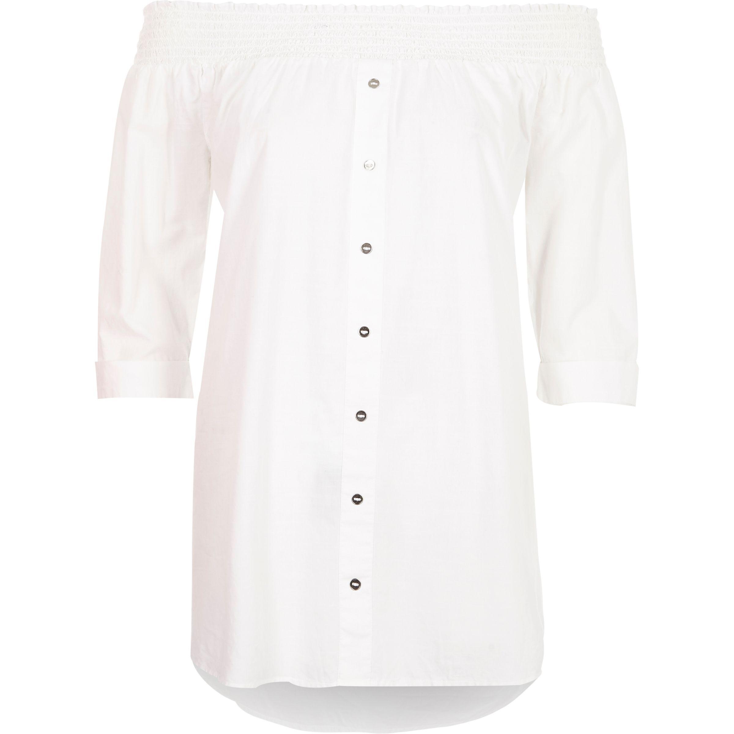 a7b59da9f550e Lyst - River Island White Button Front Shirred Bardot Top in White