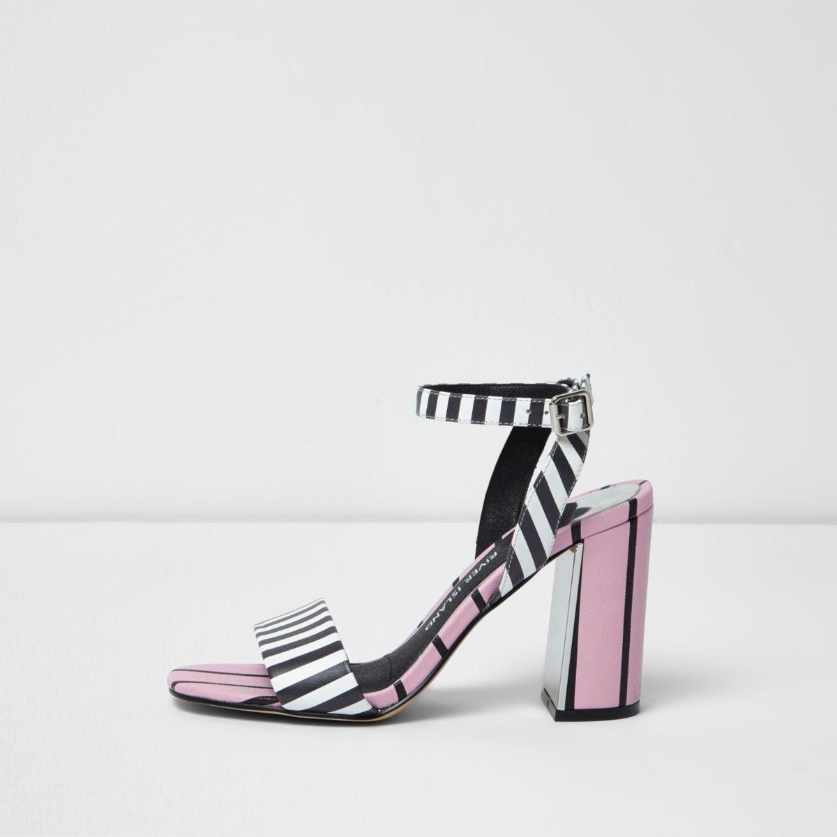 River Island Womens stripe two part block heel sandals F3ULaeHo