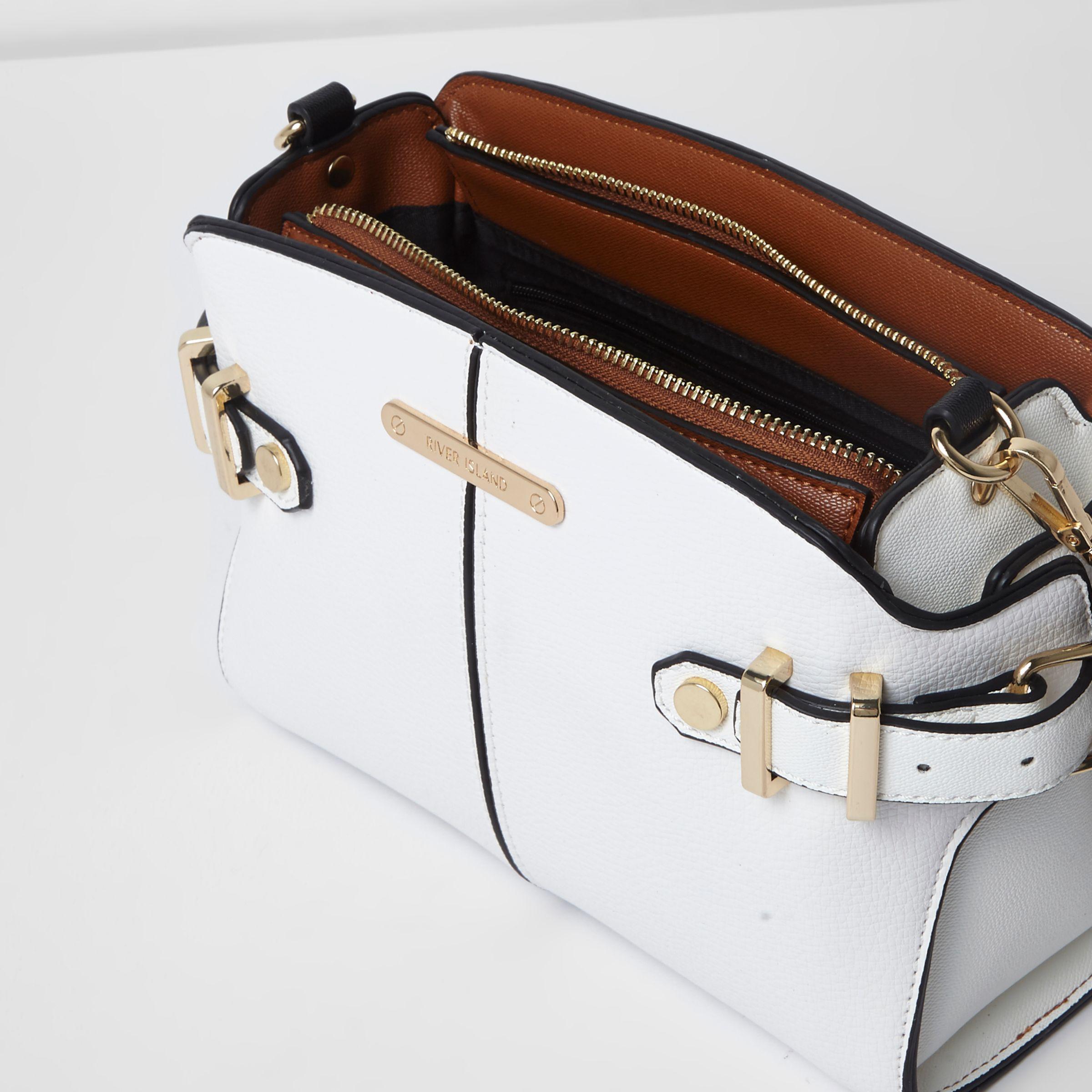29ec1b6984 Lyst - River Island White Tab Side Cross Body Bag in White