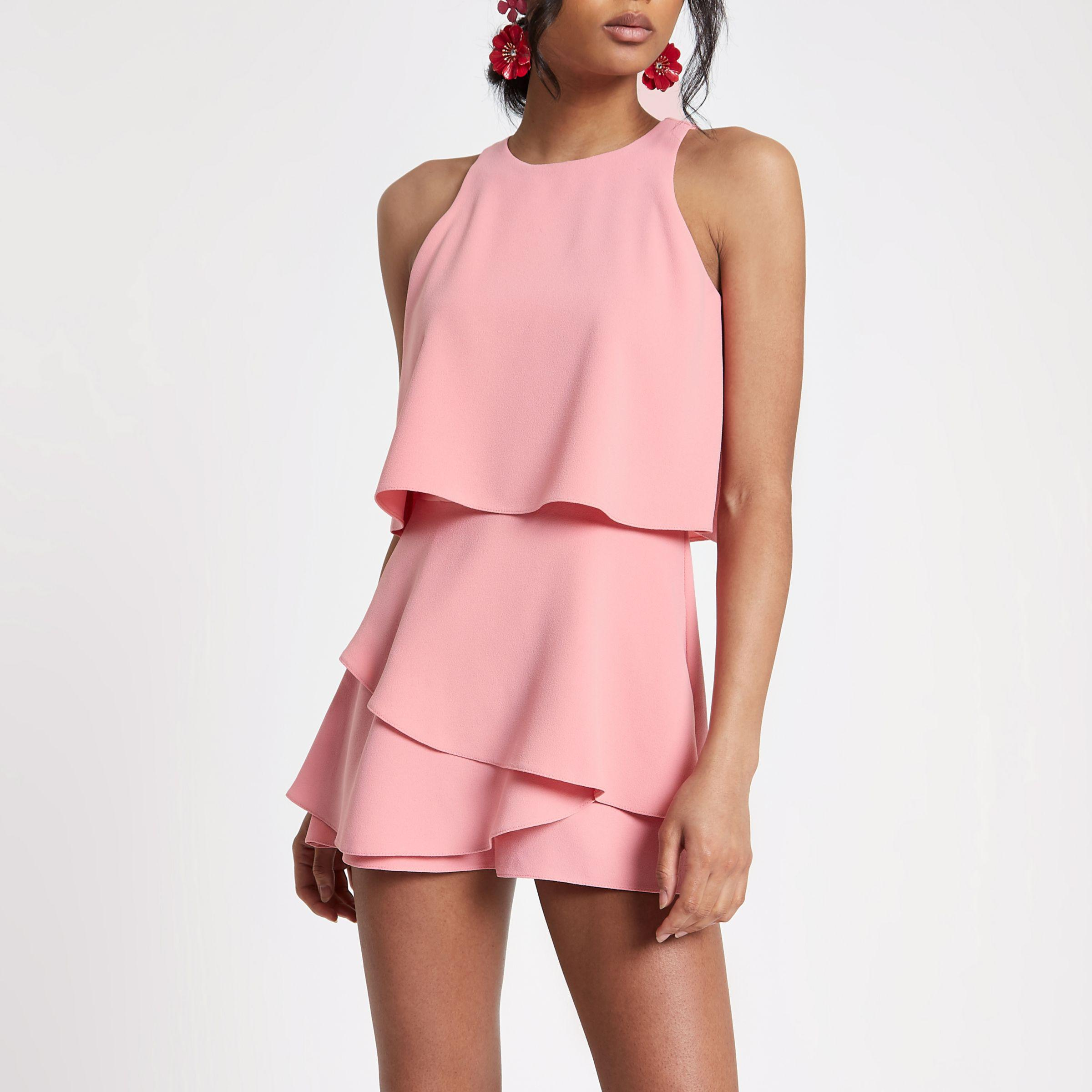 9e3c4900fc4 River Island Pink Tiered Frill Playsuit in Pink - Lyst