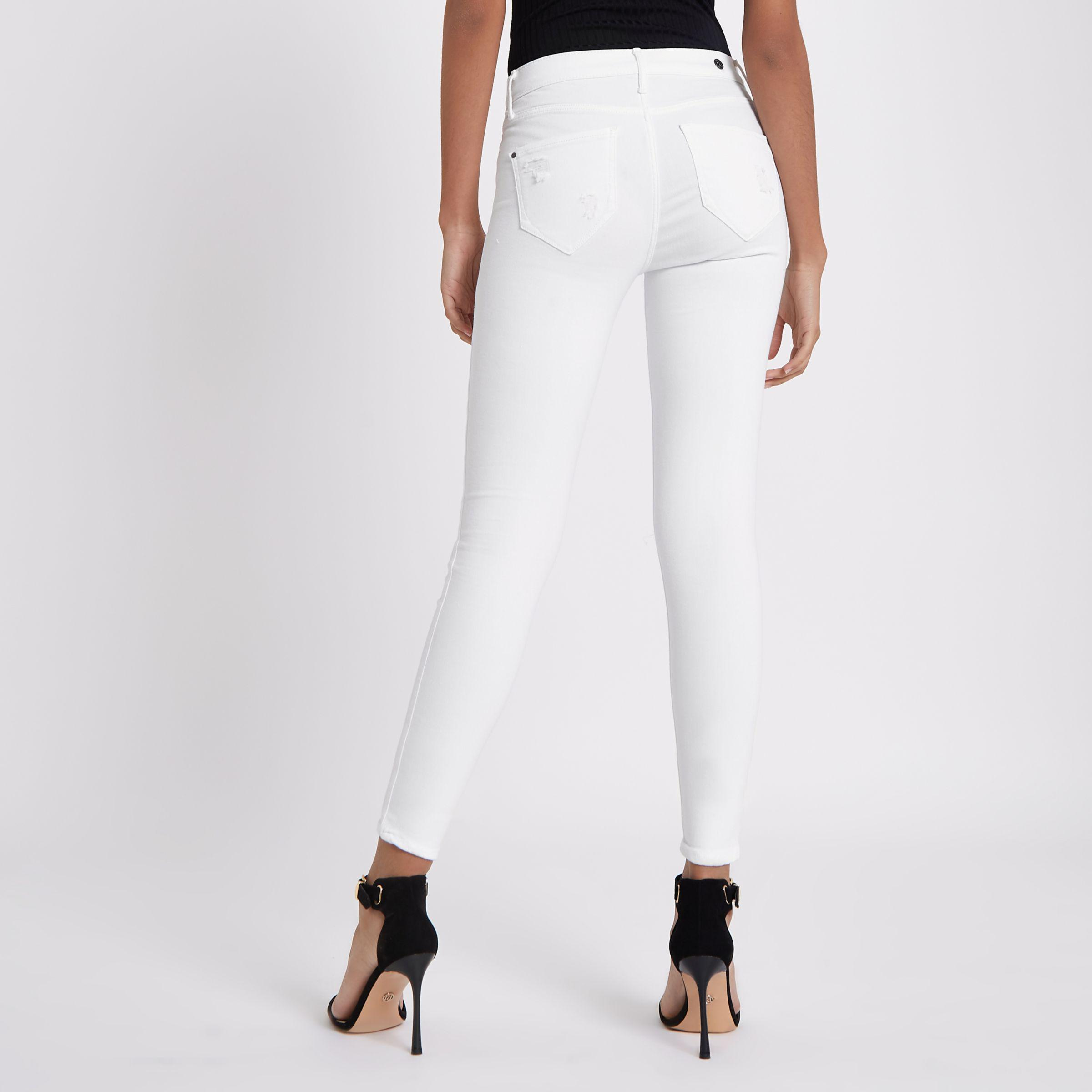 Womens White FTBC charity Molly mid rise jeggings River Island 6yl3zN