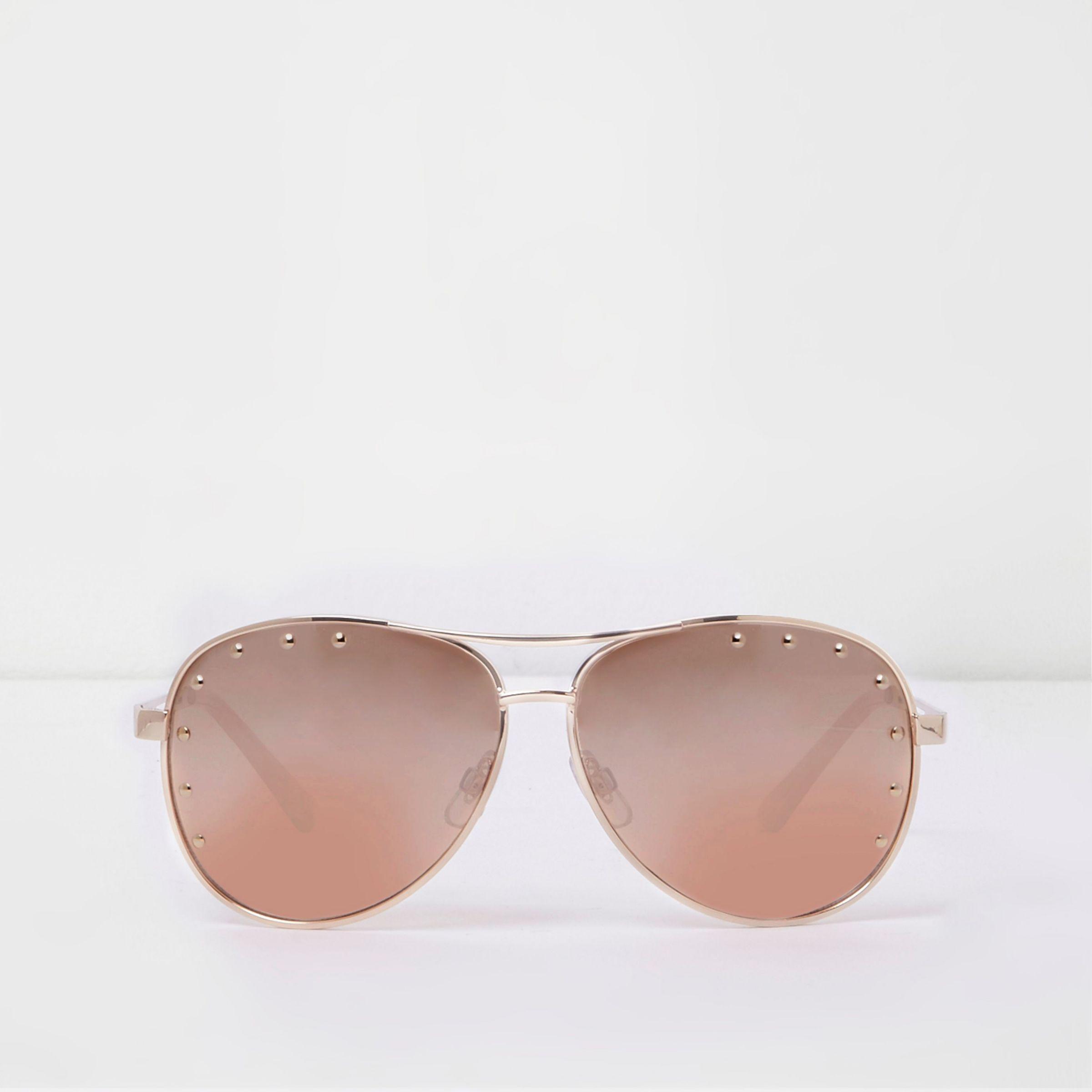 Womens Pink gold tone studded aviator sunglasses River Island UpHXrokz