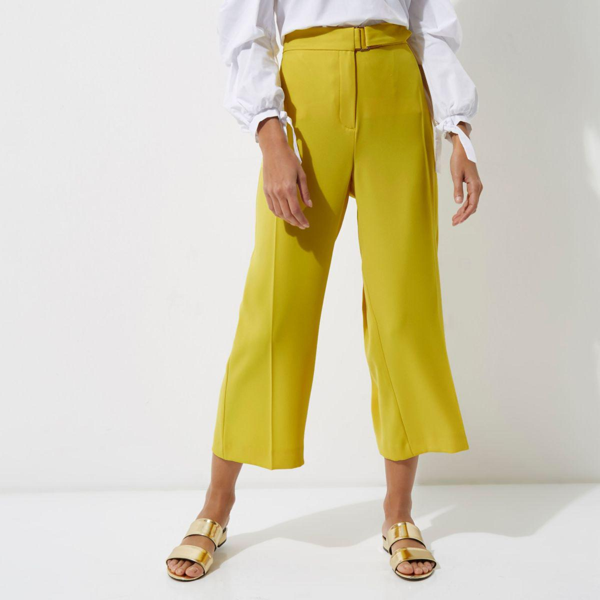 Womens Yellow crochet knit flared trousers River Island X8c2ZLxi0