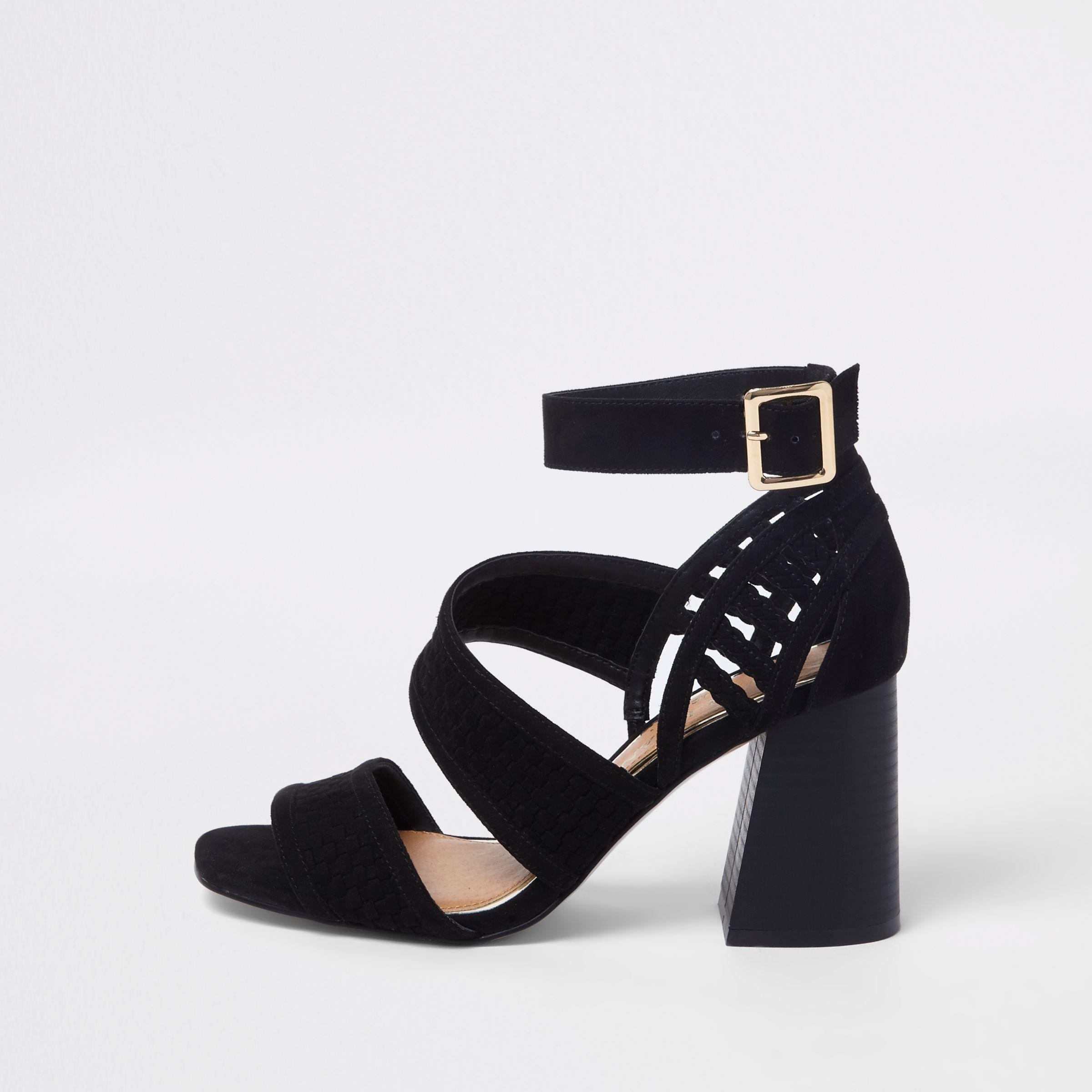 7bf6ec5d2 River Island Black Wide Fit Strappy Block Heel Sandals in Black - Lyst