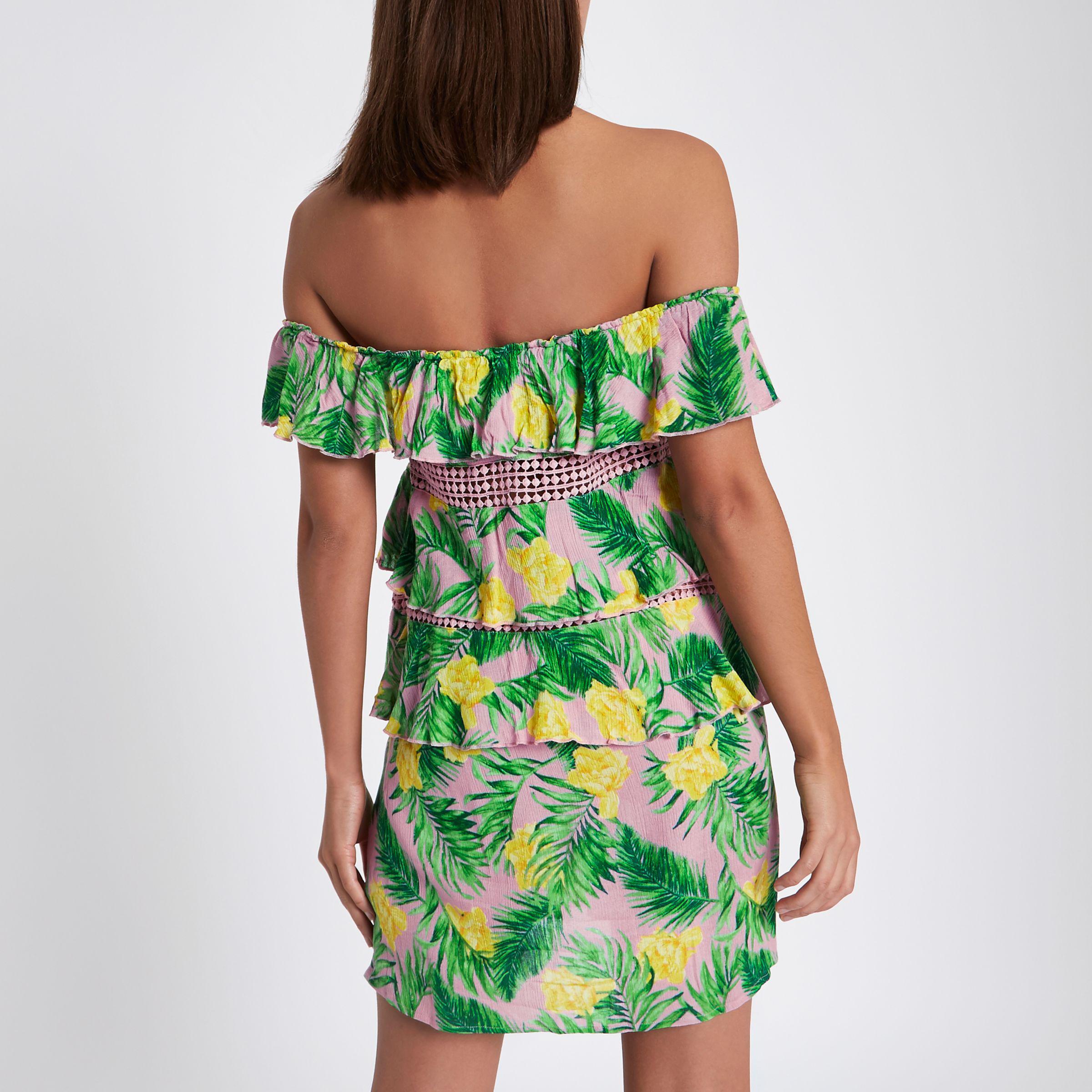 131a6e4117349 River Island Pink Tropical Print Frill Bardot Mini Dress in Pink - Lyst