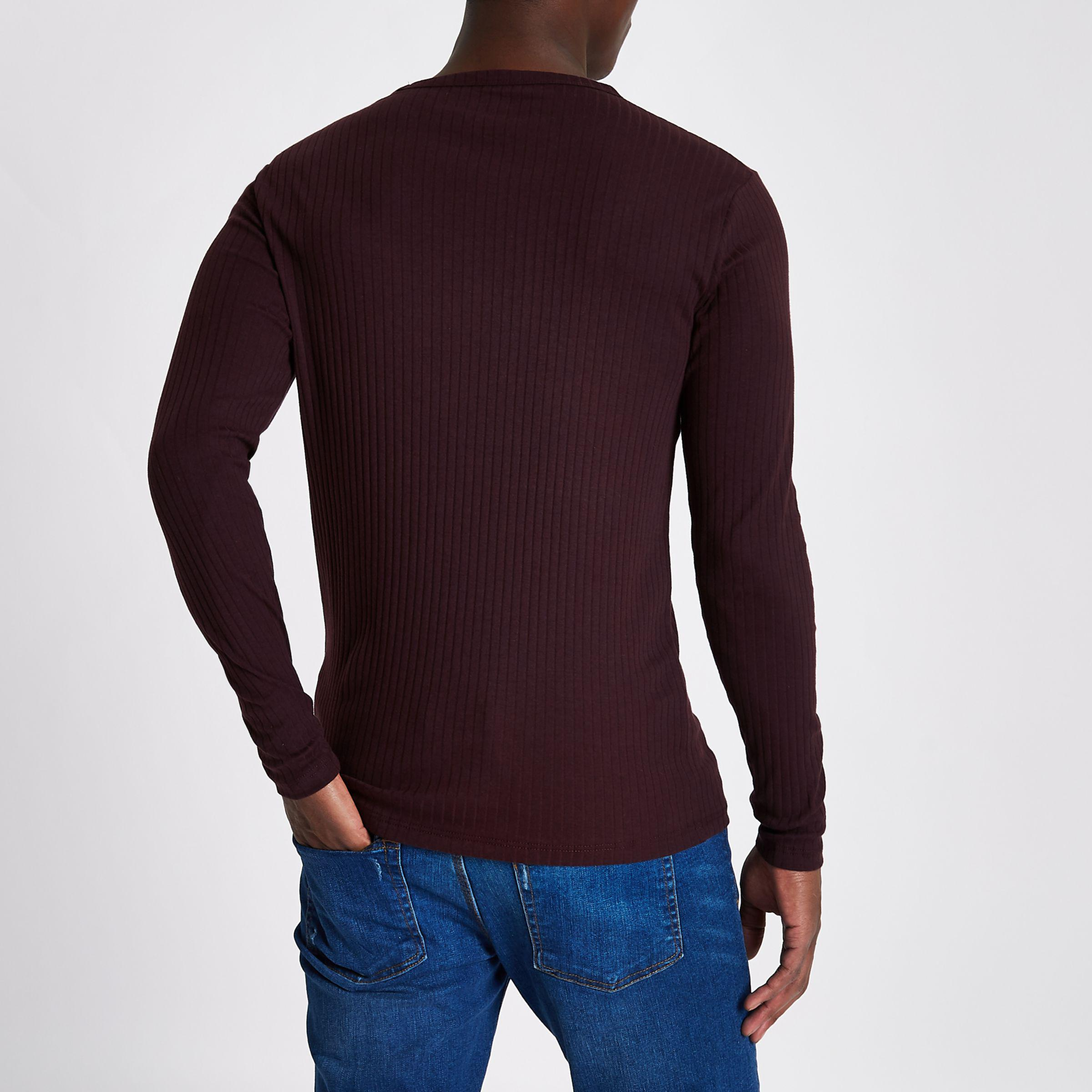 d114208ef River Island Dark Red Ribbed Slim Fit Long Sleeve T-shirt in Red for ...