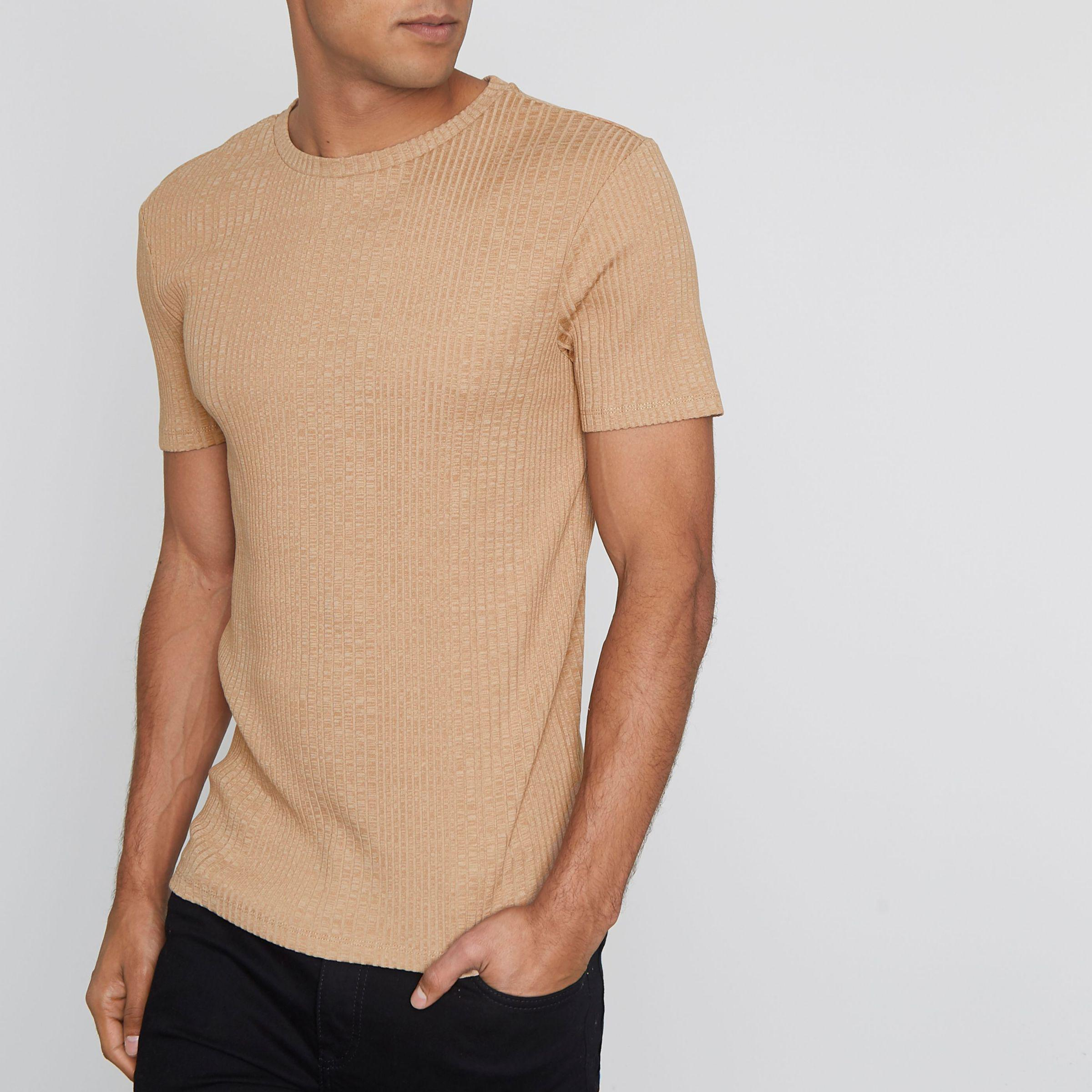 68a01dbdc Lyst - River Island Light Ribbed Muscle Fit T-shirt in Brown for Men