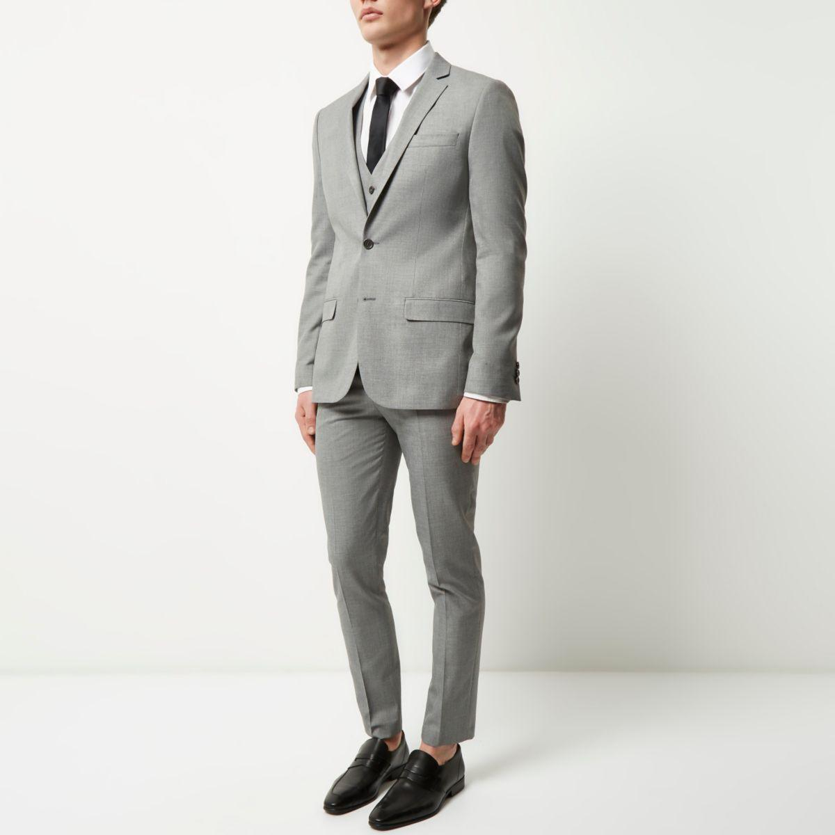 River island Light Grey Skinny Suit Jacket in Gray for Men | Lyst