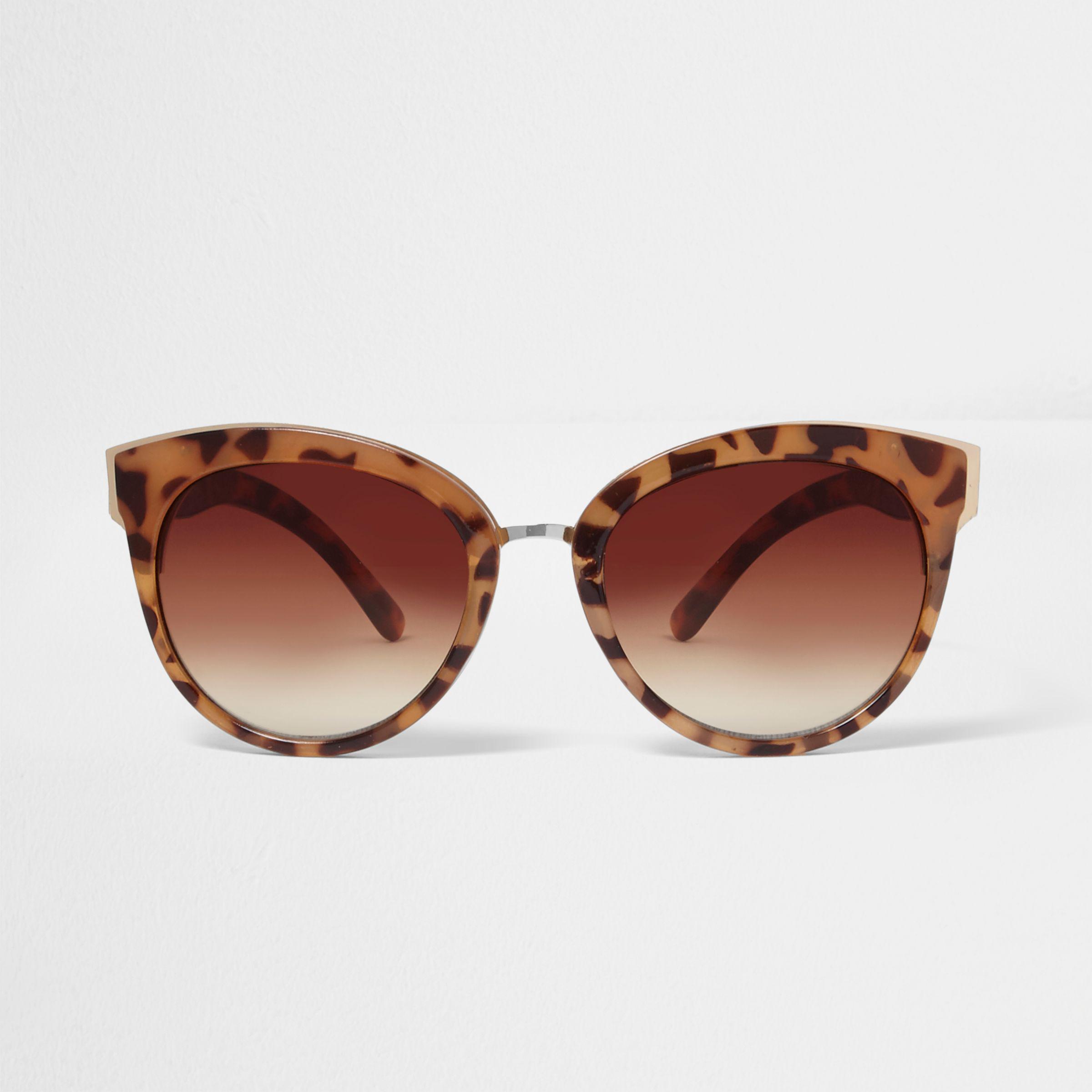 d05c280417e1 River Island Brown Leopard Print Cat Eye Sunglasses in Brown - Lyst