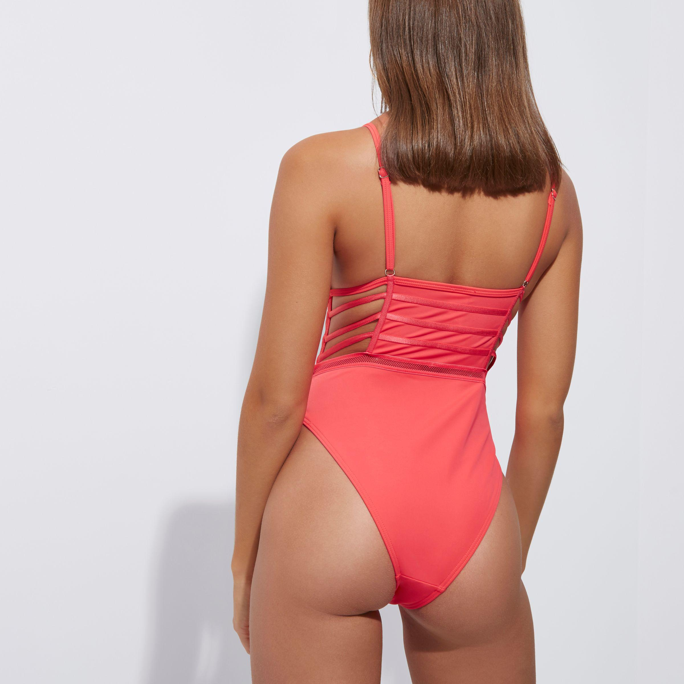 aff2302137e77 River Island Red Mesh Corset Front Plunge Swimsuit in Red - Lyst