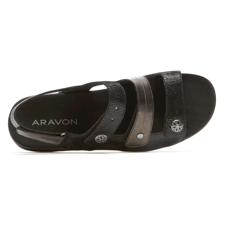 820794478 Lyst - Rockport Power Comfort 3 Strap Sandal in Black