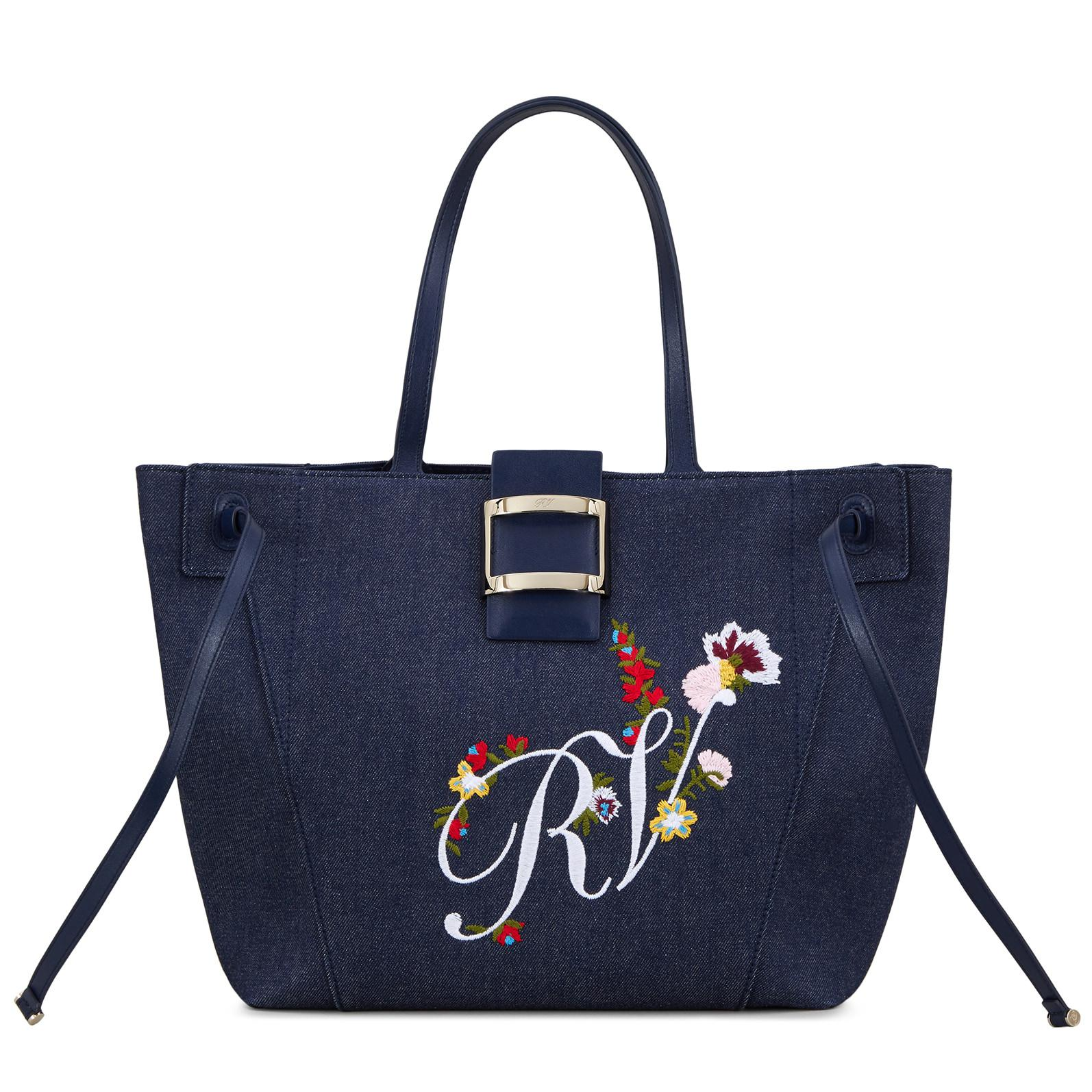 b0ec0ac73e Lyst - Roger Vivier Viv  Blooming Rv Tote Large in Blue
