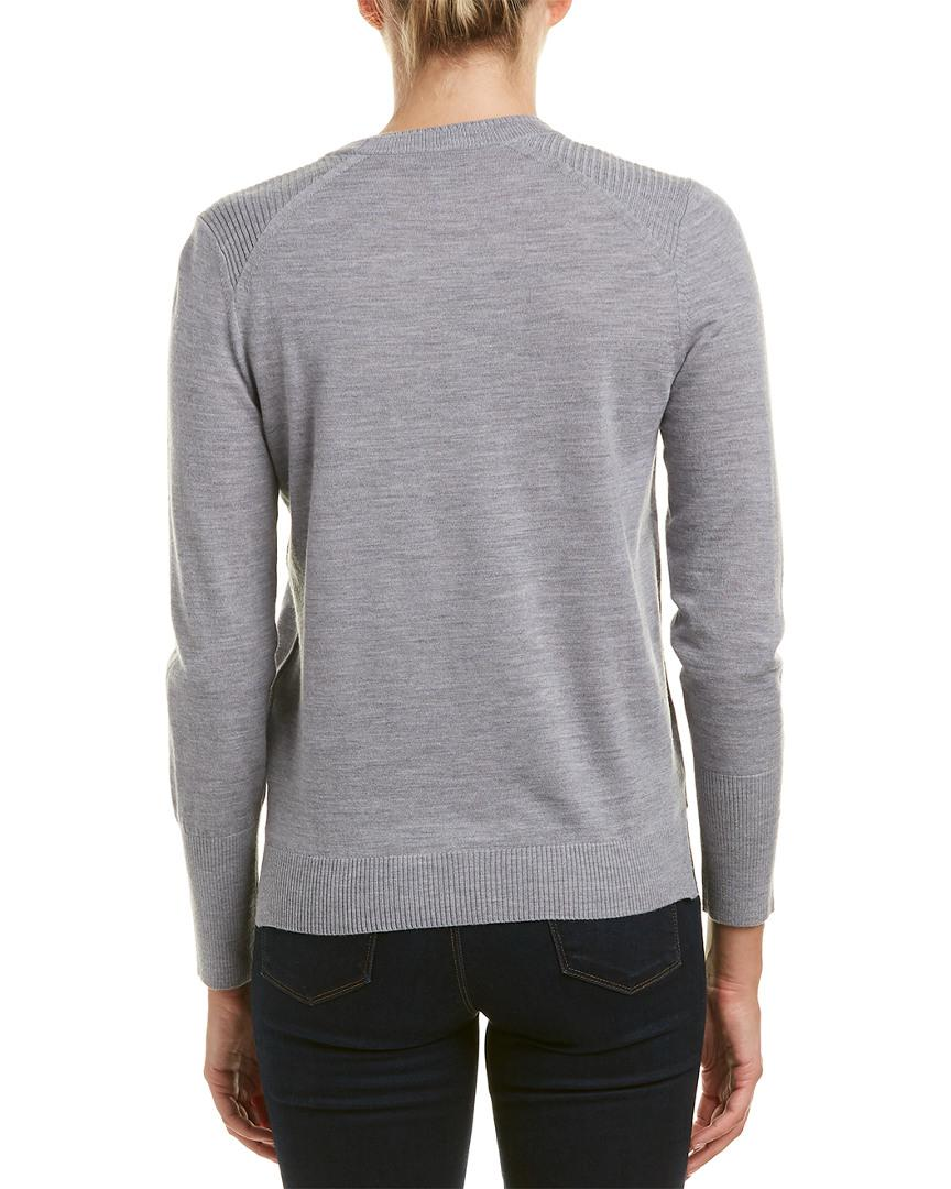 492bf92daef9 Burberry Check Detail Merino Wool Sweater in Gray - Lyst
