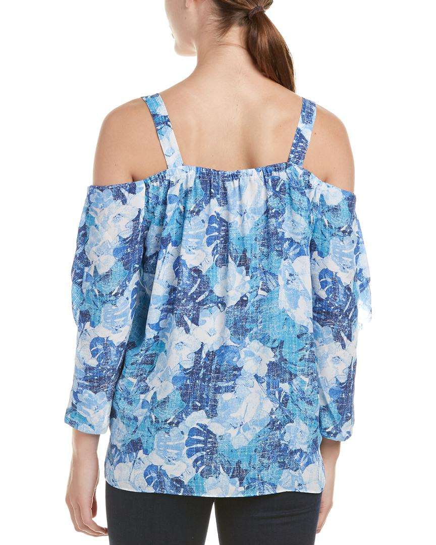 0c87cc2fdd580 Nydj Floral Print Ruffle Cold Shoulder Blouse in Blue - Save  14.285714285714292% - Lyst