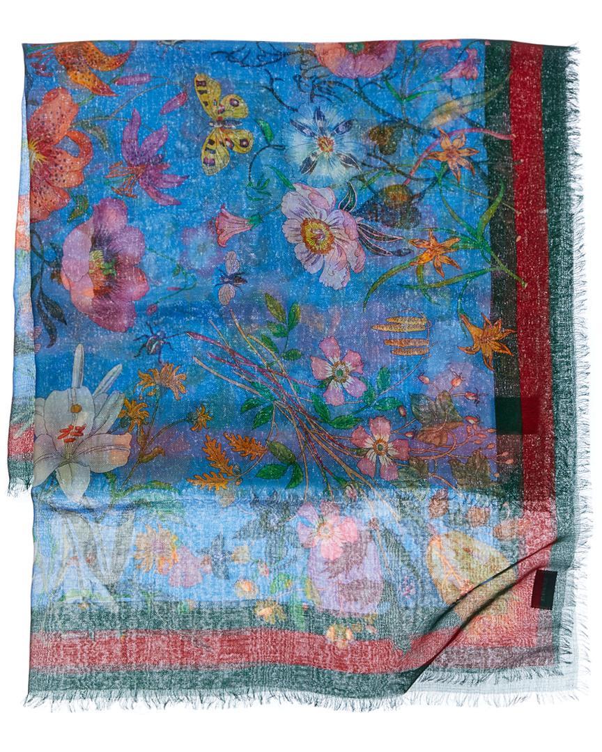 70e2c0b013c Lyst - Gucci Flora Snake Print Silk   Wool Blend Shawl in Blue