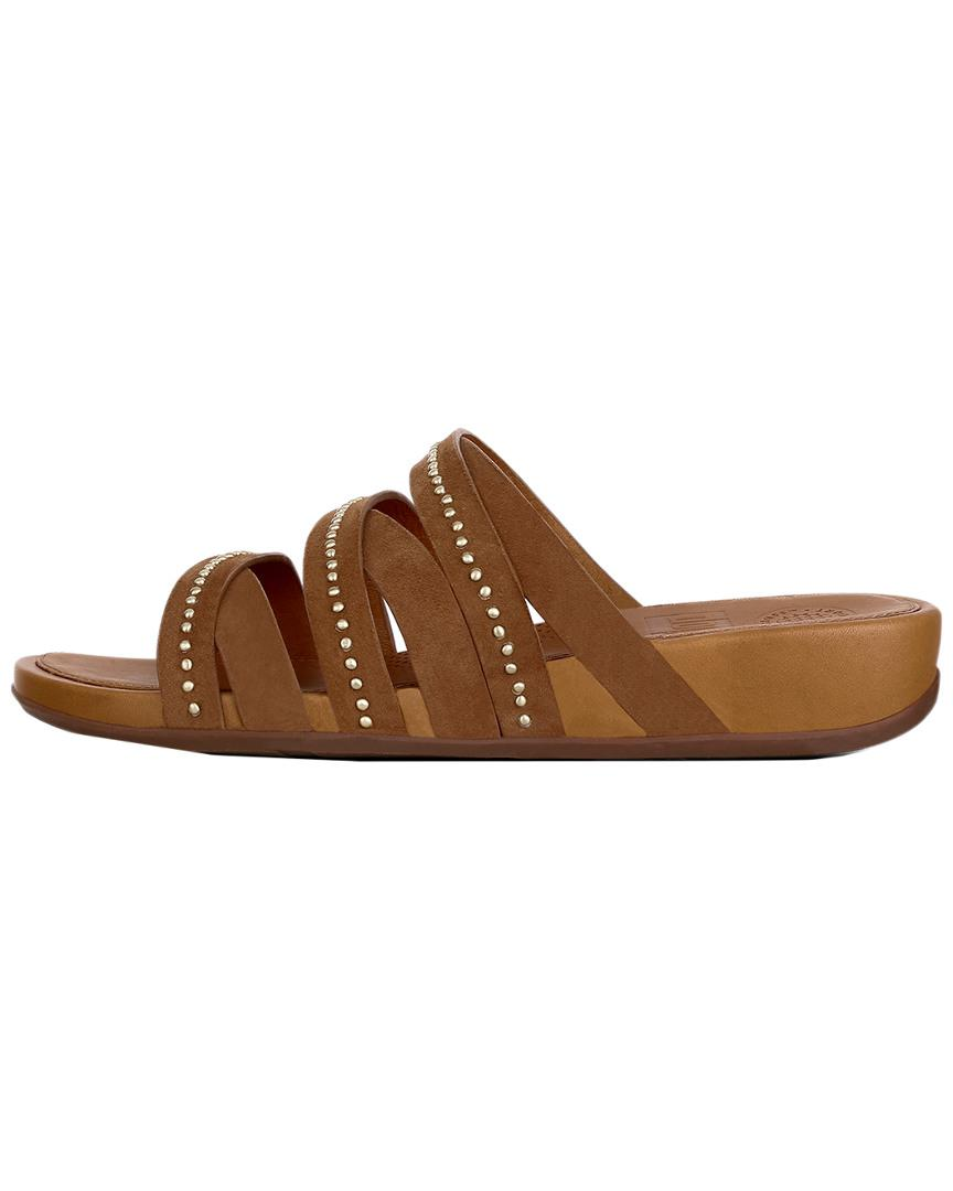 5898b6c7cfc8 Lyst - Fitflop Lumy Leather Slide Sandal in Brown