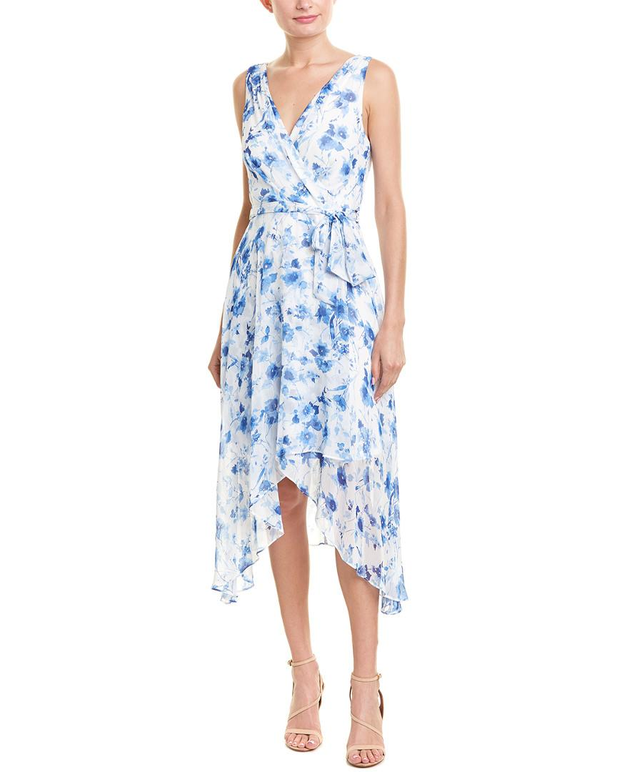 393e1392e54 Karl Lagerfeld. Women s Blue Floral Print Sleeveless V-neck Tie Waist Sharkbite  Hem Chiffon Dress