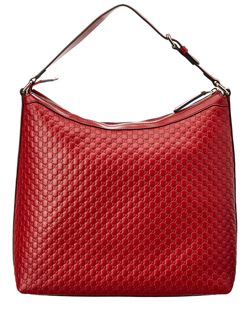 Lyst - Gucci Red Microsima Leather Hobo Bag in Red 9f6e10c350d29