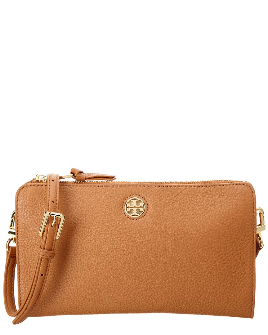 fc5df7806b36 Tory Burch Brody Pebbled Leather Wallet Crossbody in Brown - Lyst