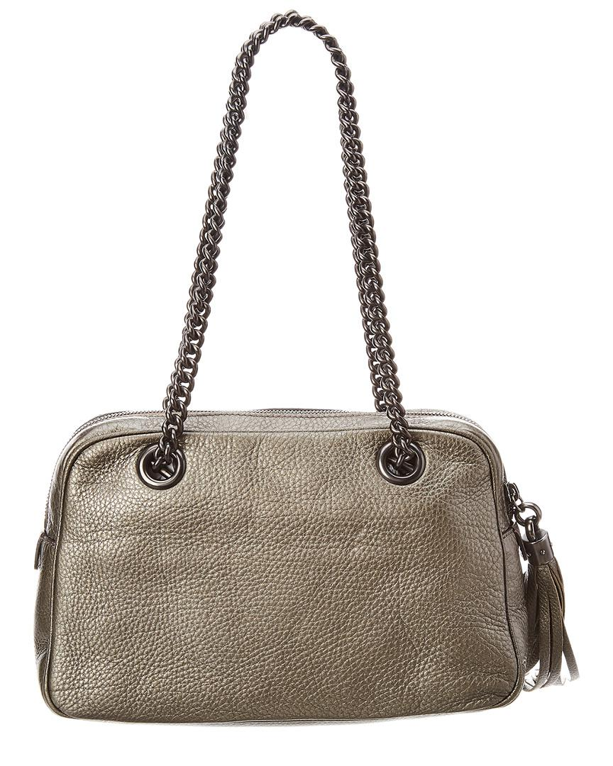 66cded172744 Gucci Silver Metallic Leather Soho Chain Shoulder Bag in Metallic - Save  23.099703849950643% - Lyst